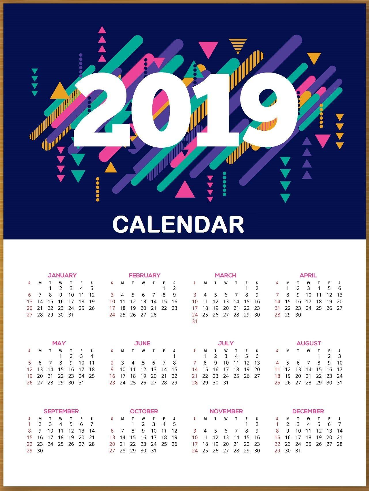 2019 HD Calendar Printable 2019calendar PrintableCalendar calendar2019 calendar CalendarTemplate calendardesign