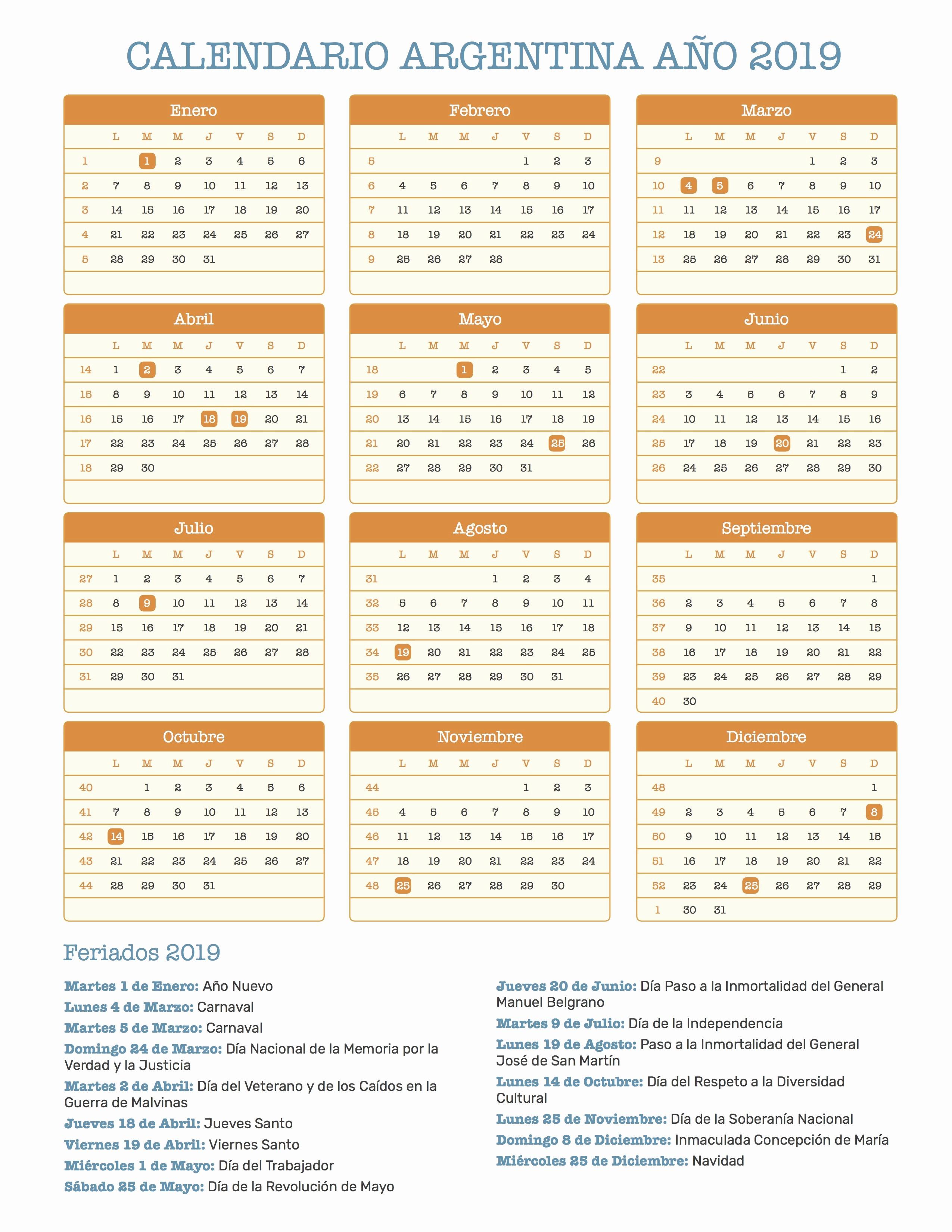 Calendario Dr 2019 Calendario Argentina Ano 2019 Feriados
