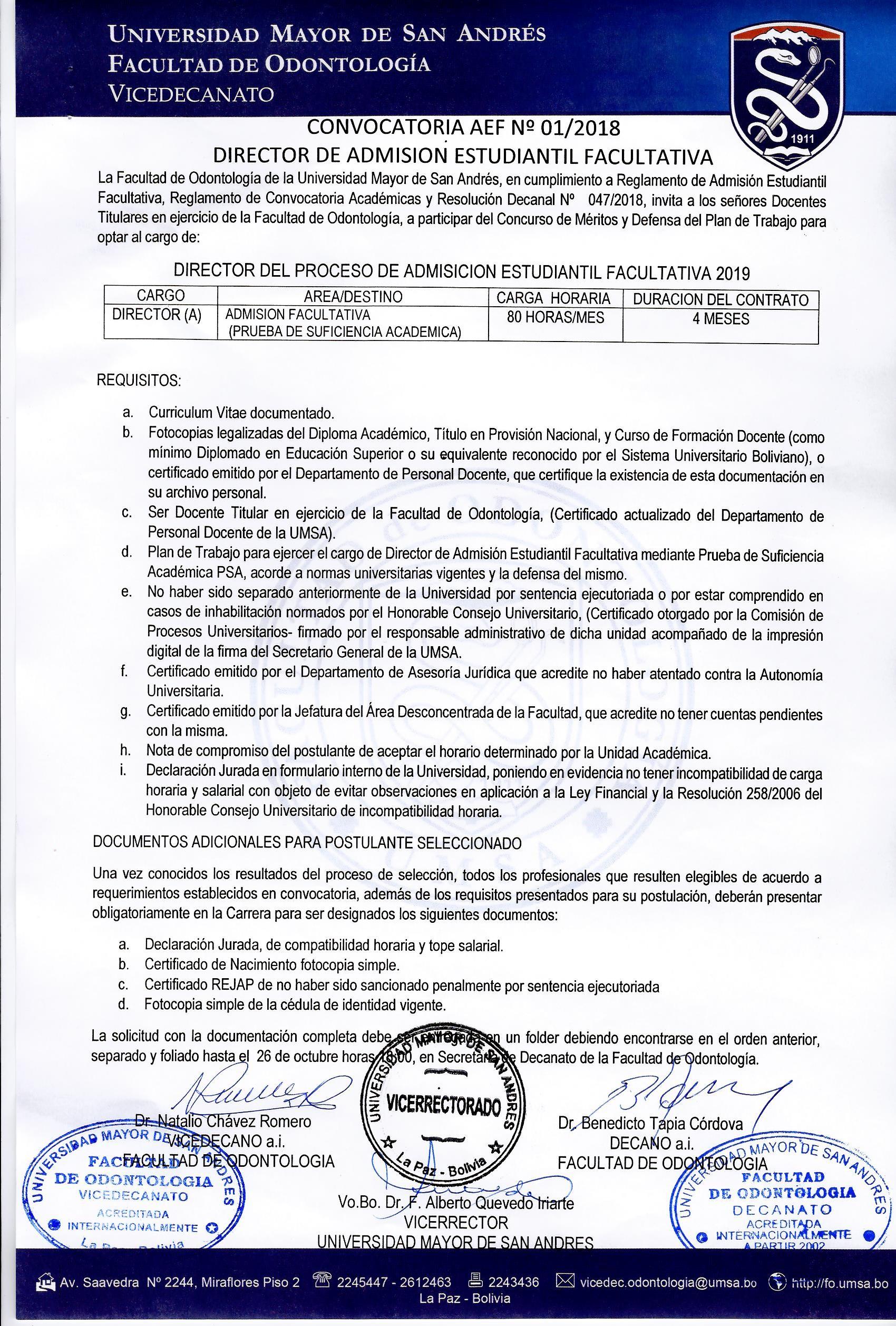 CONVOCATORIA AEF Nº 01 2018 DIRECTOR DE ADMISION ESTUDIANTIL FACULTATIVA