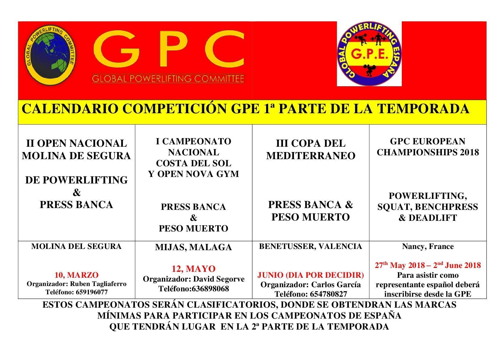 CALENDARIO GPE 2018
