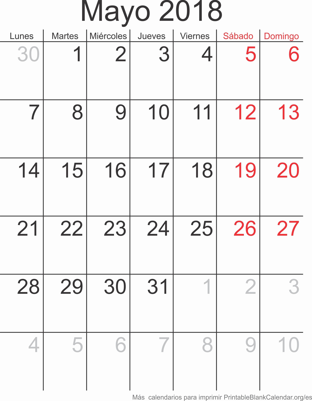 Calendario Junio 2019 En Blanco Imprimir Calendario Mayo 2018 Calendarios Para Imprimir