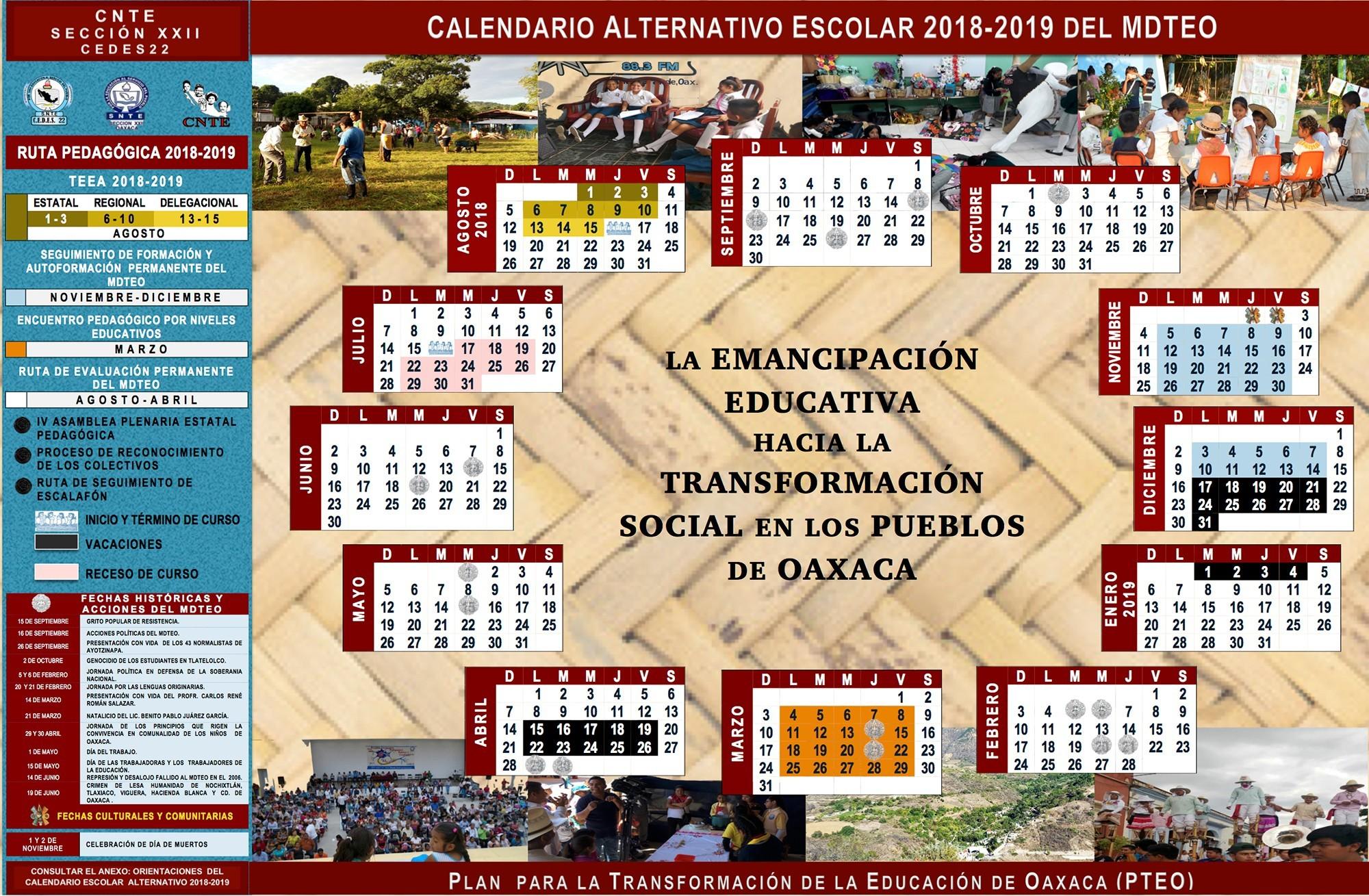 parte esto CALENDARIO ALTERNATIVO ESCOLAR 2018 2019