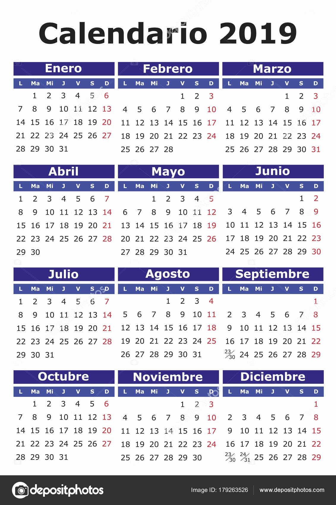 Calendario E2019 Espanhol Calendario 2019 Vetores De Stock