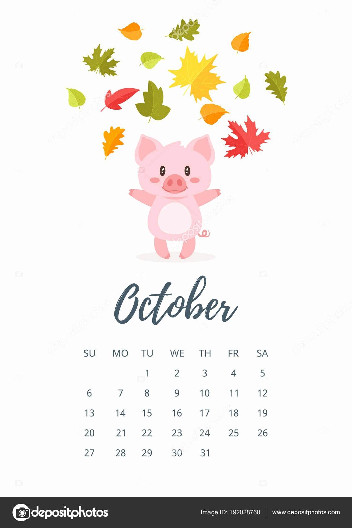 13 De Octubre De 2019 Pagina De Calendario Ano Outubro De 2019 Vetor De Stock
