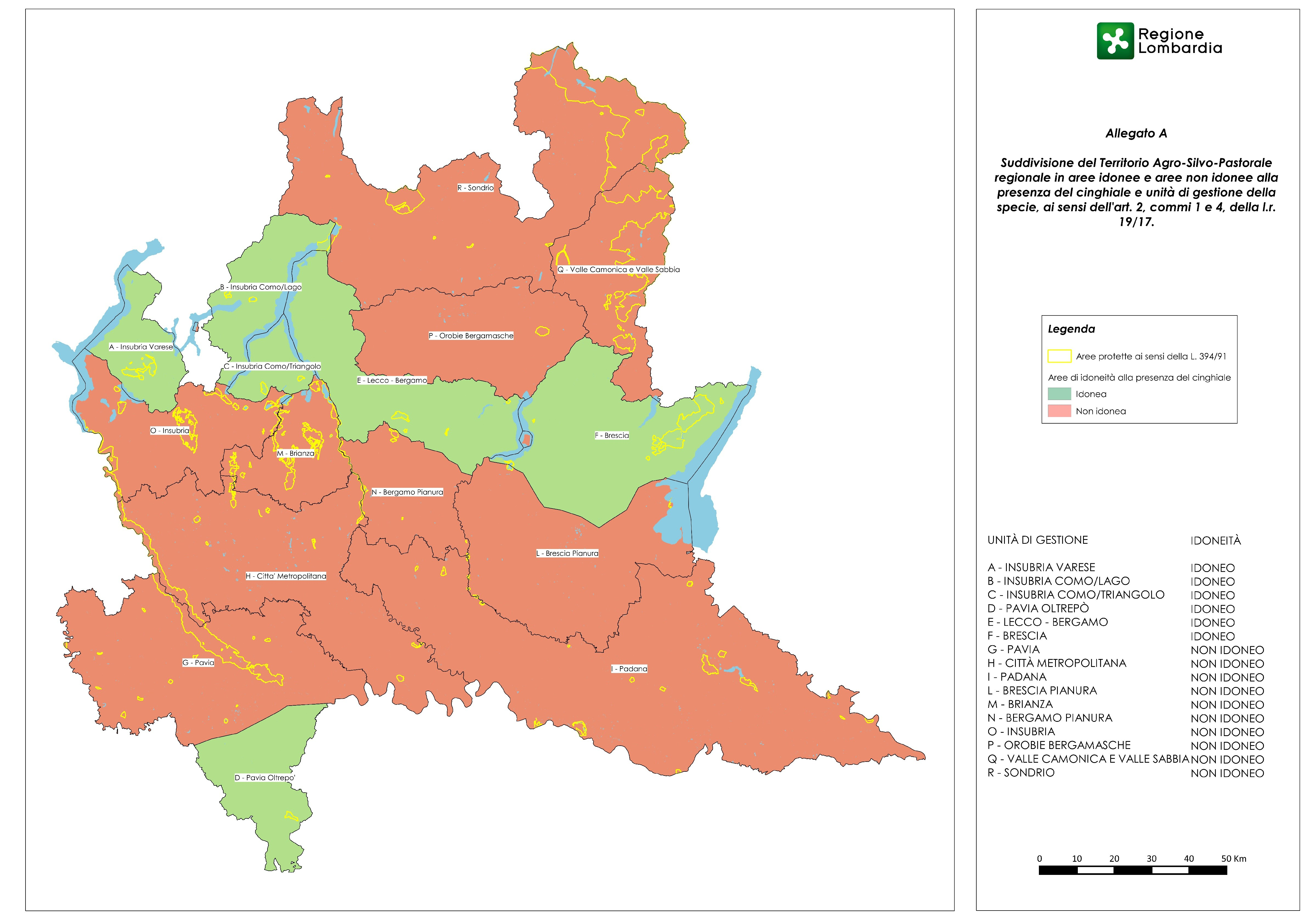 Questa la mappa con la suddivisione territoriale