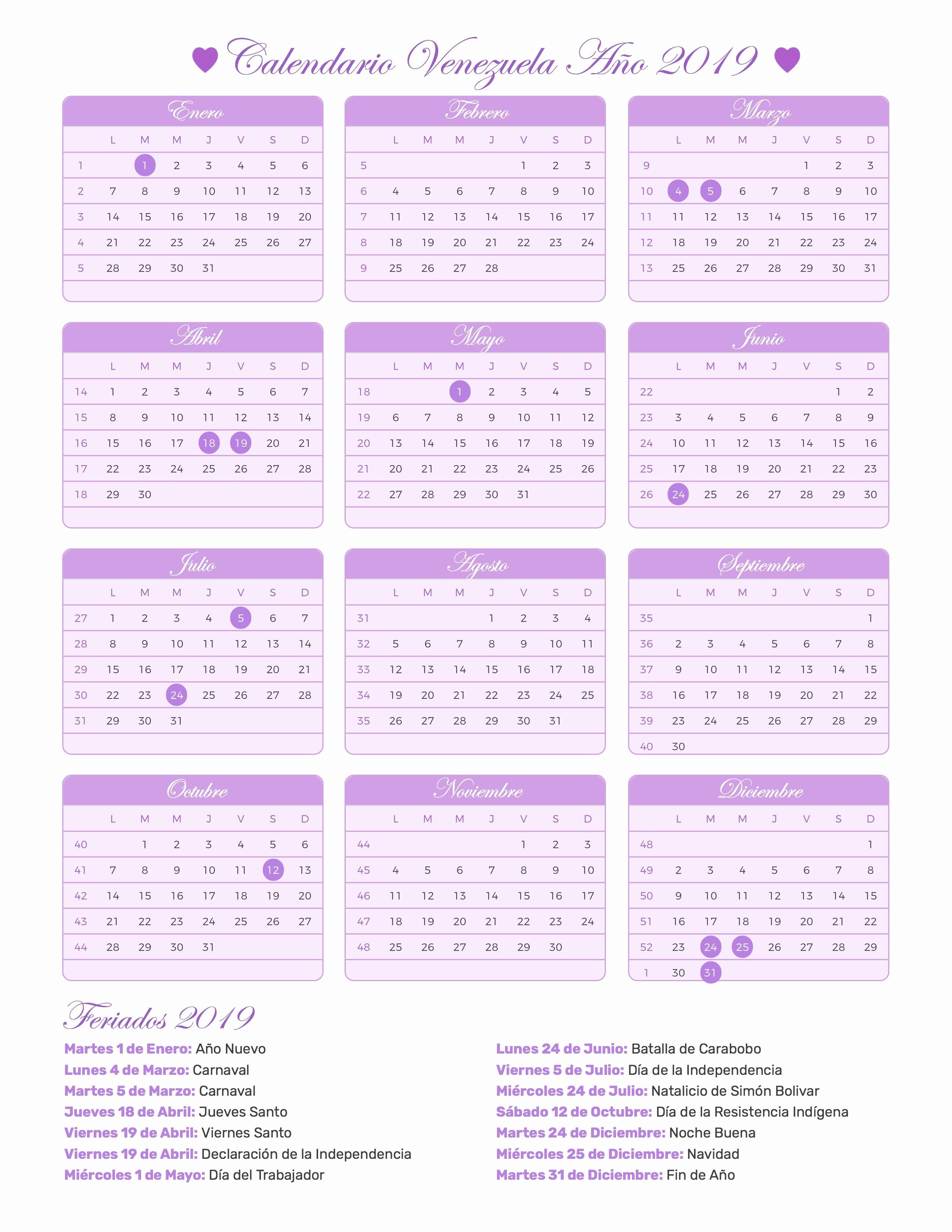 Calendario Julio 1987 2019 Calendario Venezuela Ano 2019 Feriados