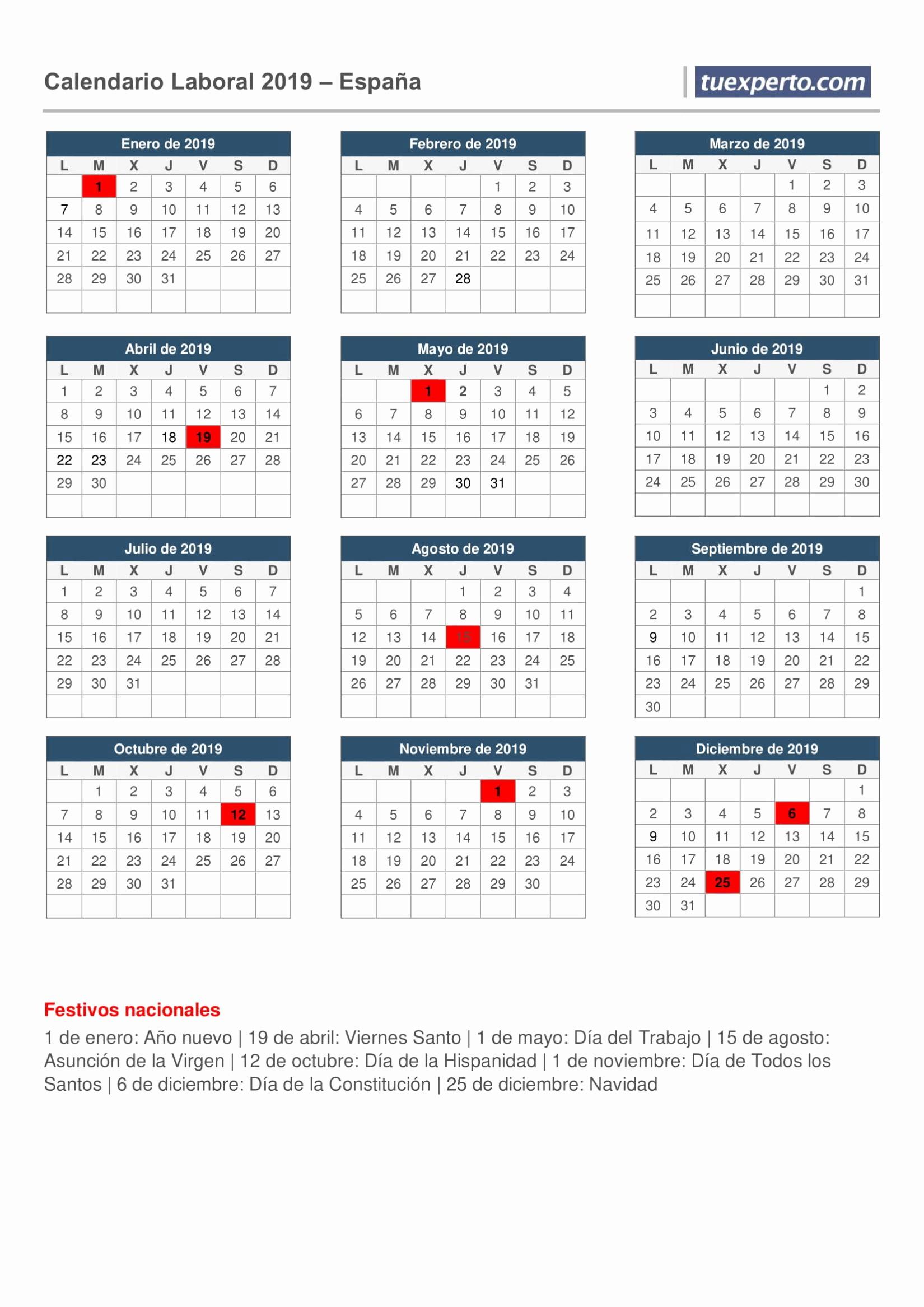 Calendario Laboral Construccion Las Palmas 2019 Calendario Laboral 2019 Calendarios Con Festivos Por