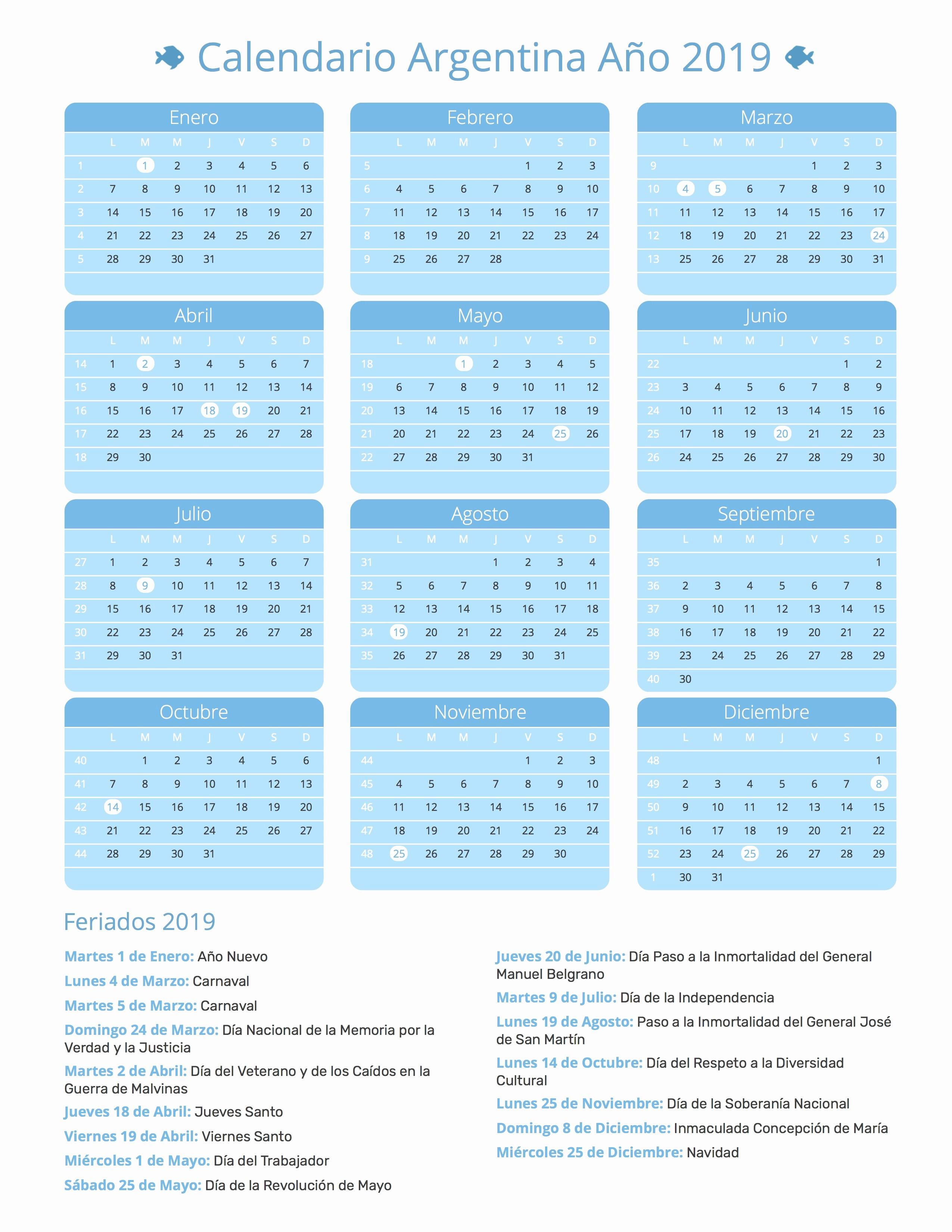 Cada Cuanto Se Repiten Los Calendarios 2019 Calendario Argentina Ano 2019 Feriados