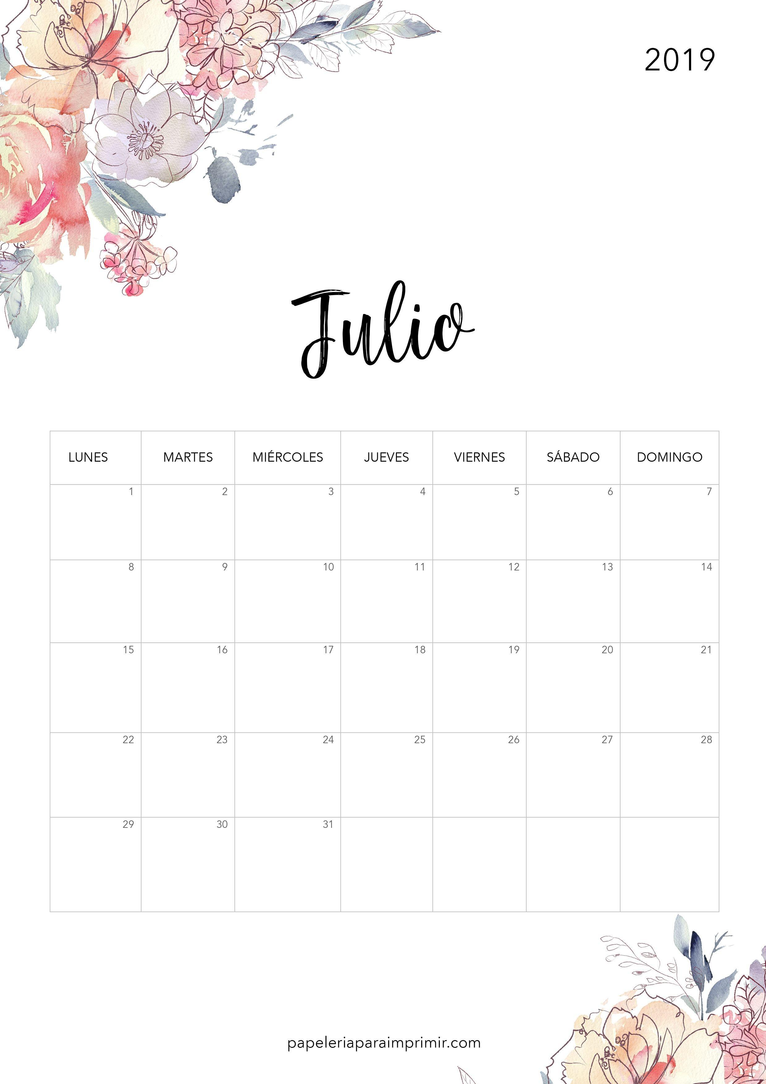 Calendario para imprimir 2019 Julio calendario imprimir julio july gratis