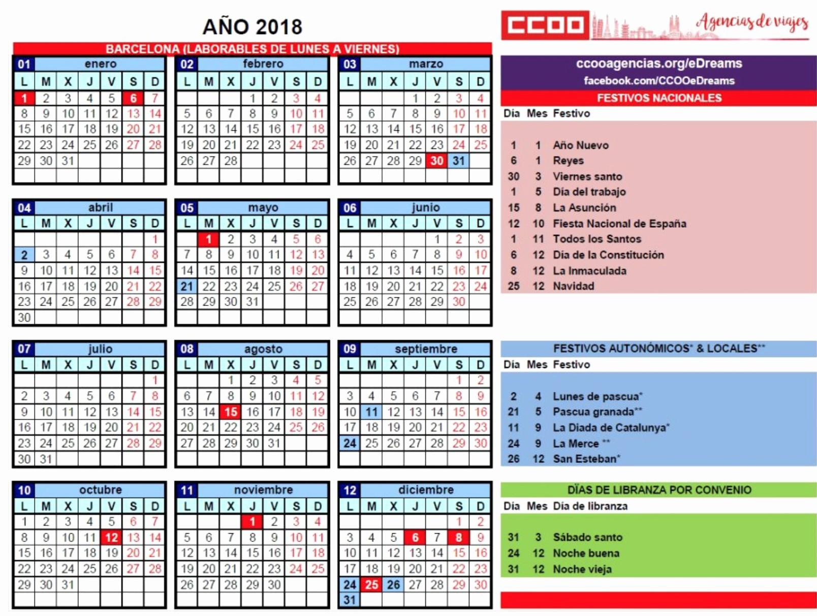 Calendario Laboral 2019 Espa±a 2019 Engrande Firma Calendario 2018 En Tlc Ccoo Agencias