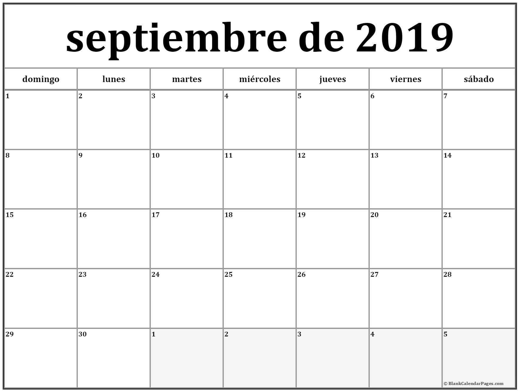 septiembre de 2019 calendario imprimible