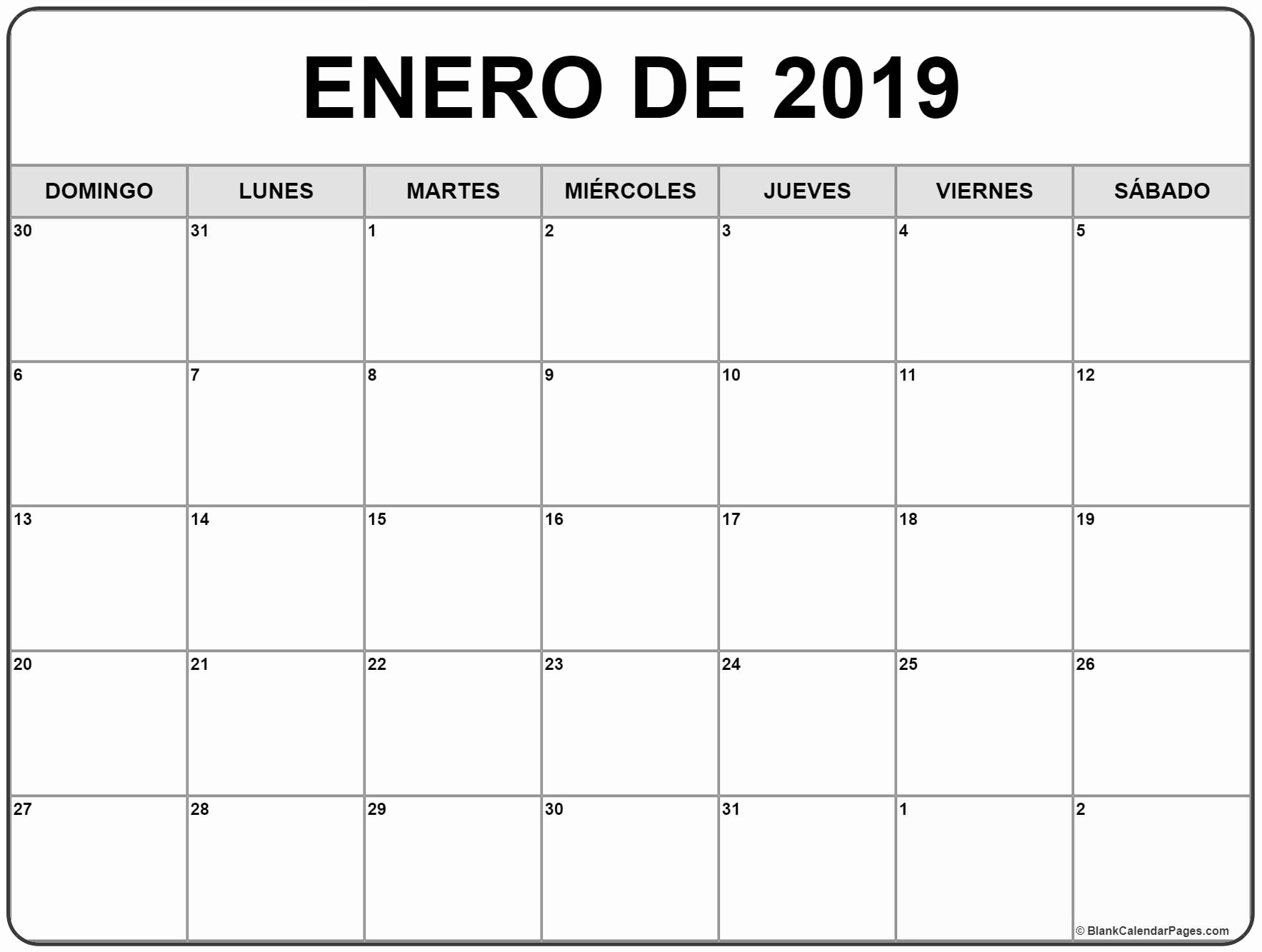 Calendario Dr 2019 Enero De 2019 Calendario Gratis Calendario De