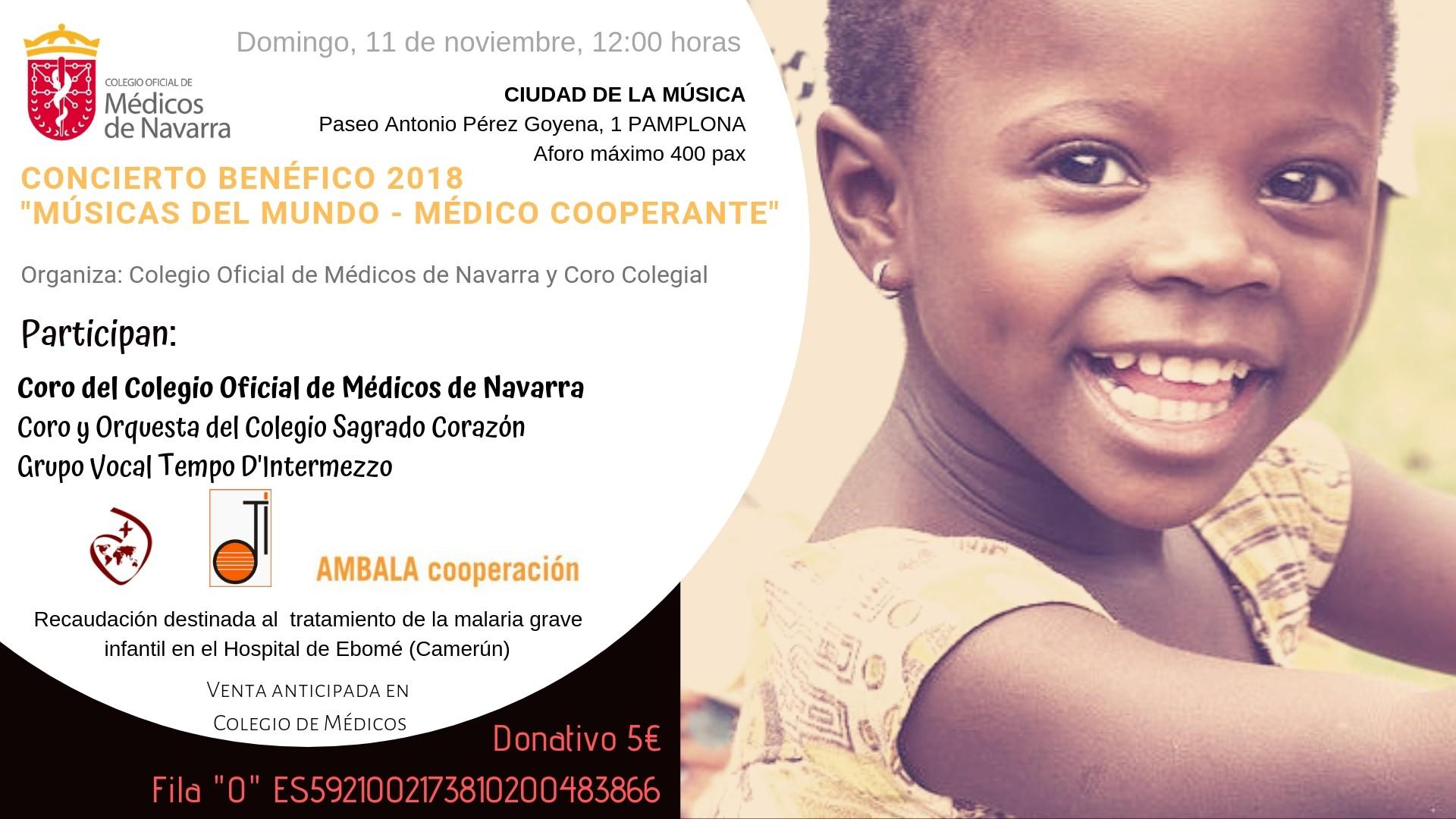 Concierto Benéfico en favor de la ONG navarra AMBALA el domingo 11 de noviembre Entradas agotadas