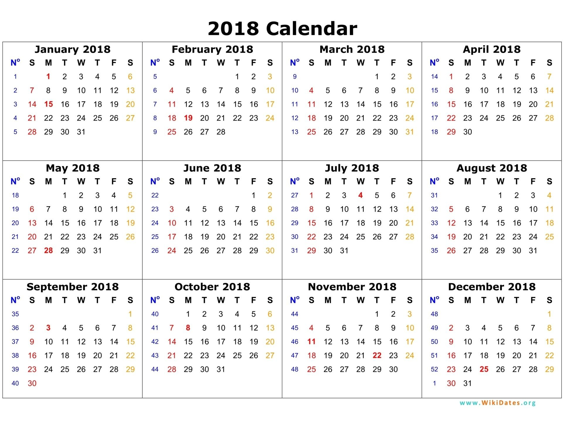 Annual Calendar 2018 Portrait Printable Calendar 2017 2018 2019 by Yearly Calendar 2018 Weekly Calendar Template