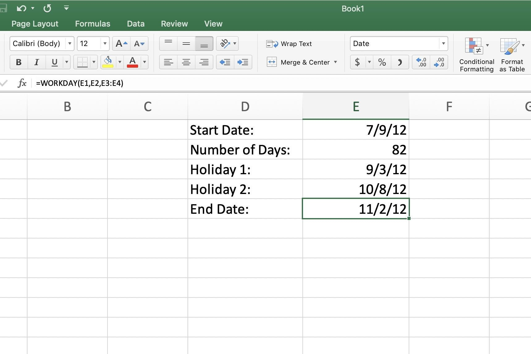 Screenshot of Excel with WORKDAY Function