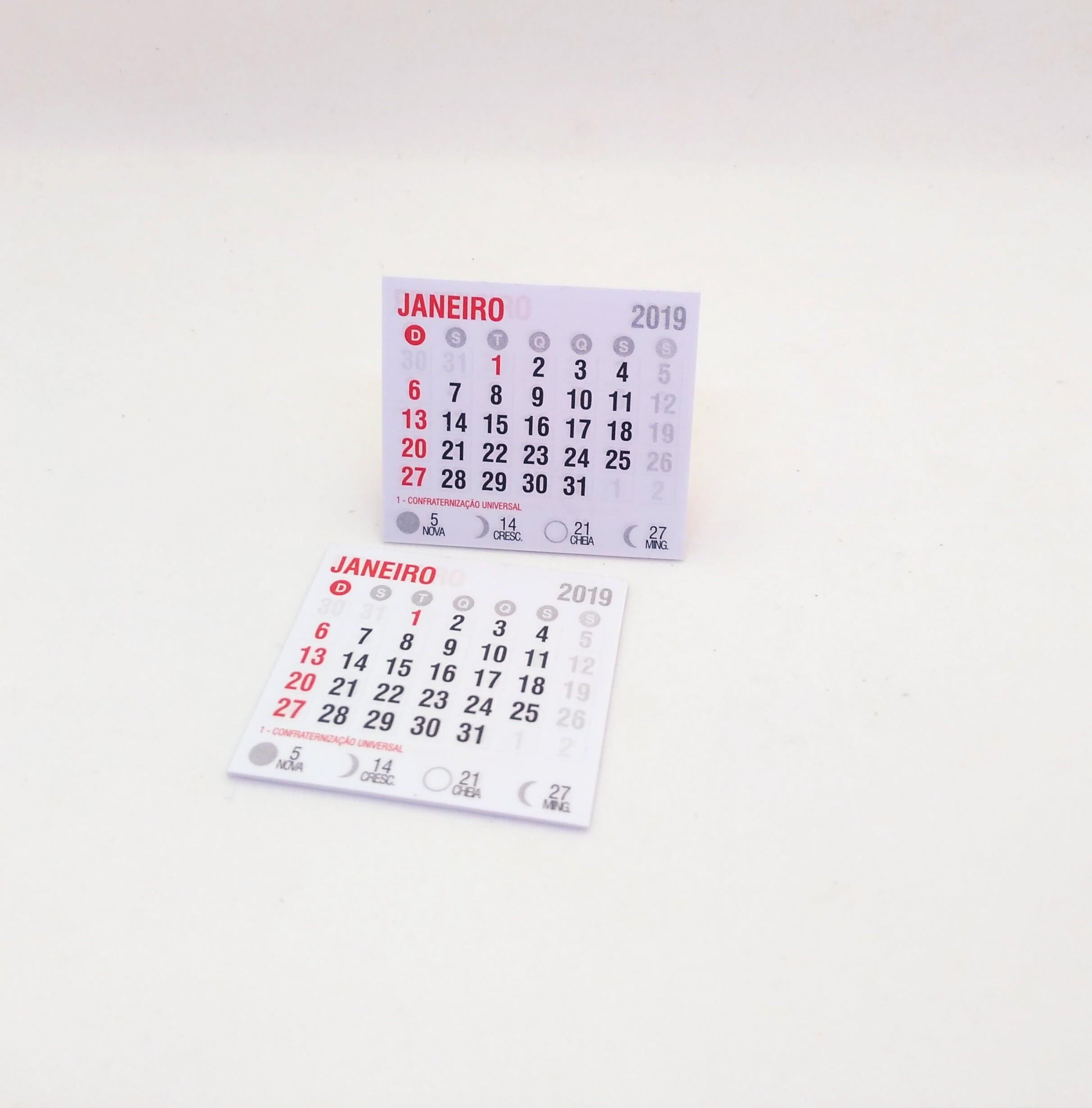 50 mini calendario 2019 4 5x5