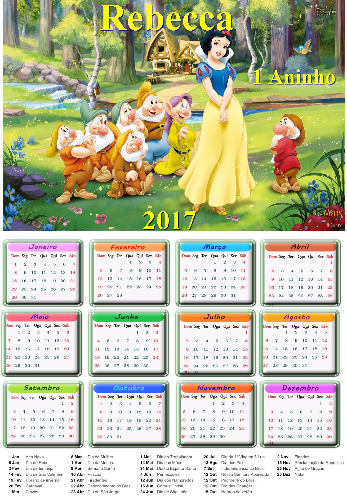 calendario folhinha personalizado aniversario