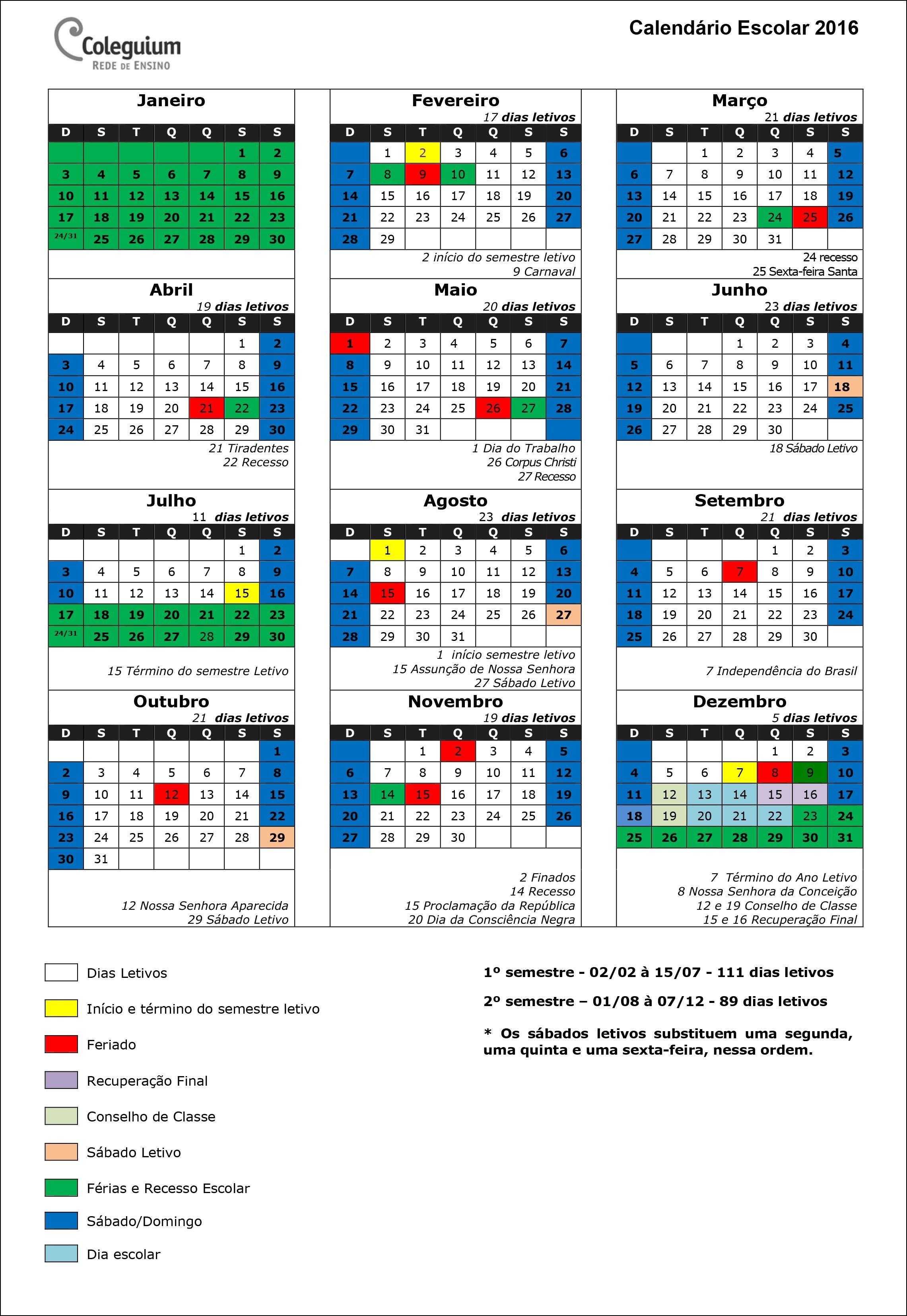 Calendário Guia do Aluno