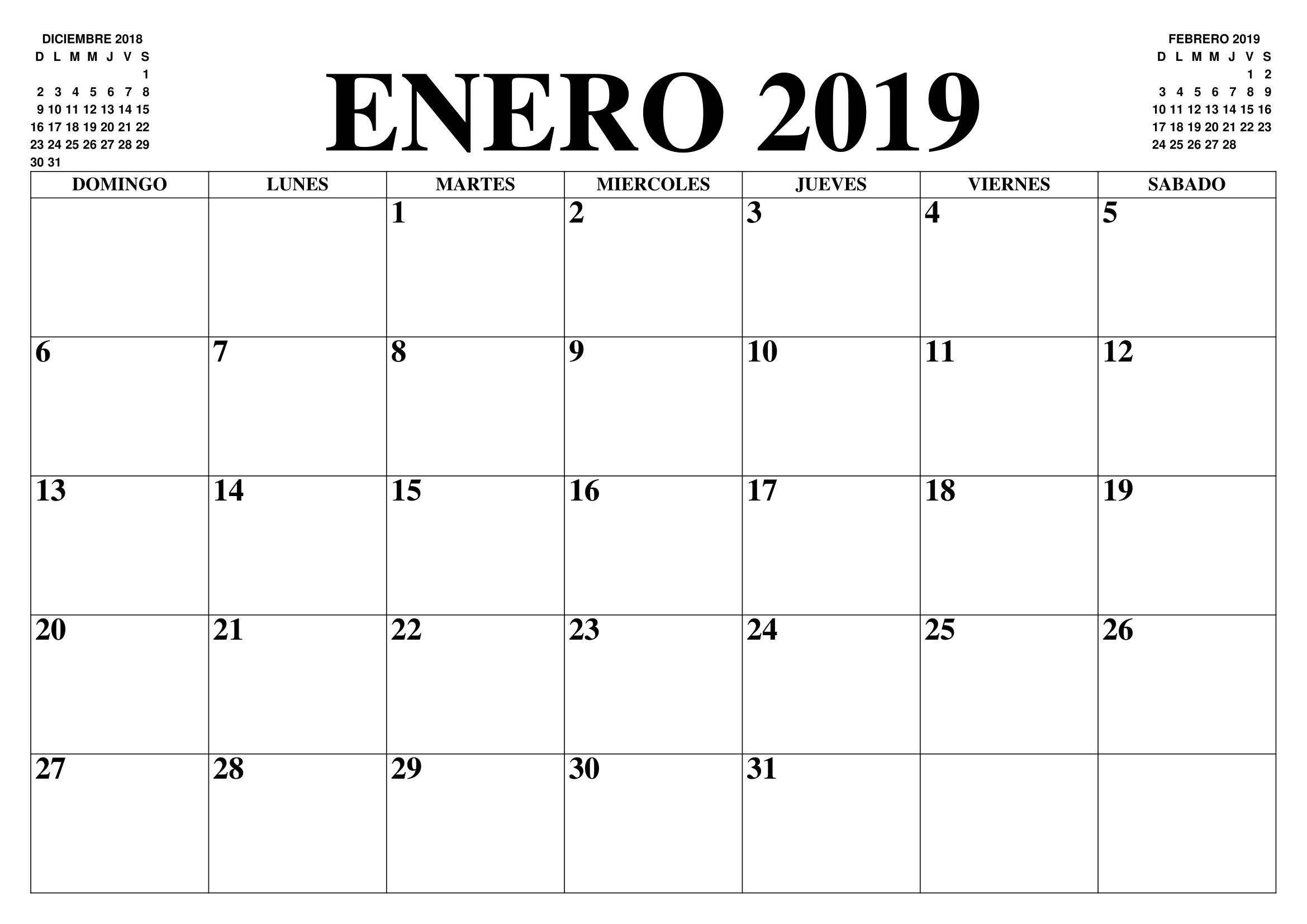Imprimir Calendario Enero 2019 Chile PDF