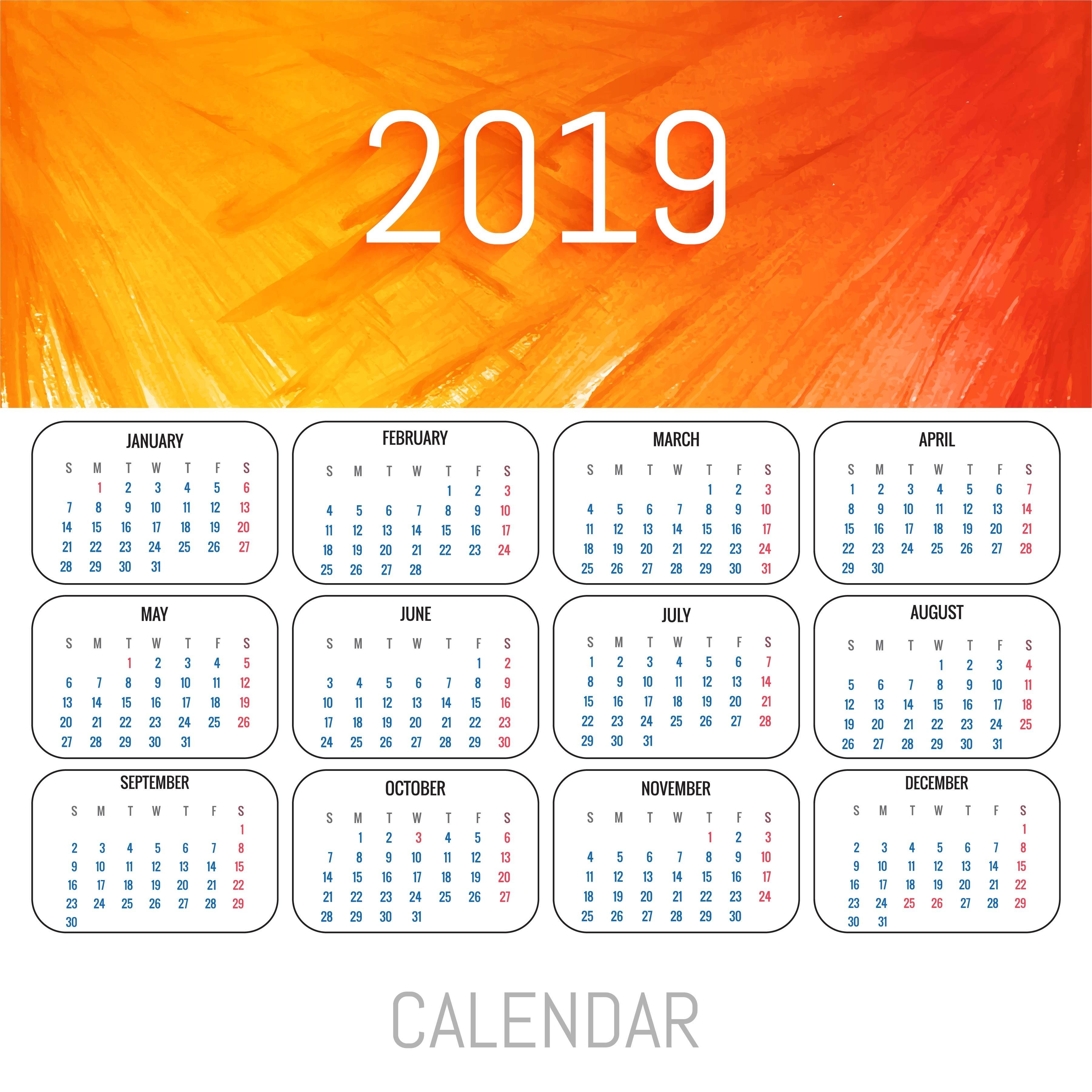 Vetor de modelo de calendário colorido de 2019 Download Vetores e Gráficos Gratuitos