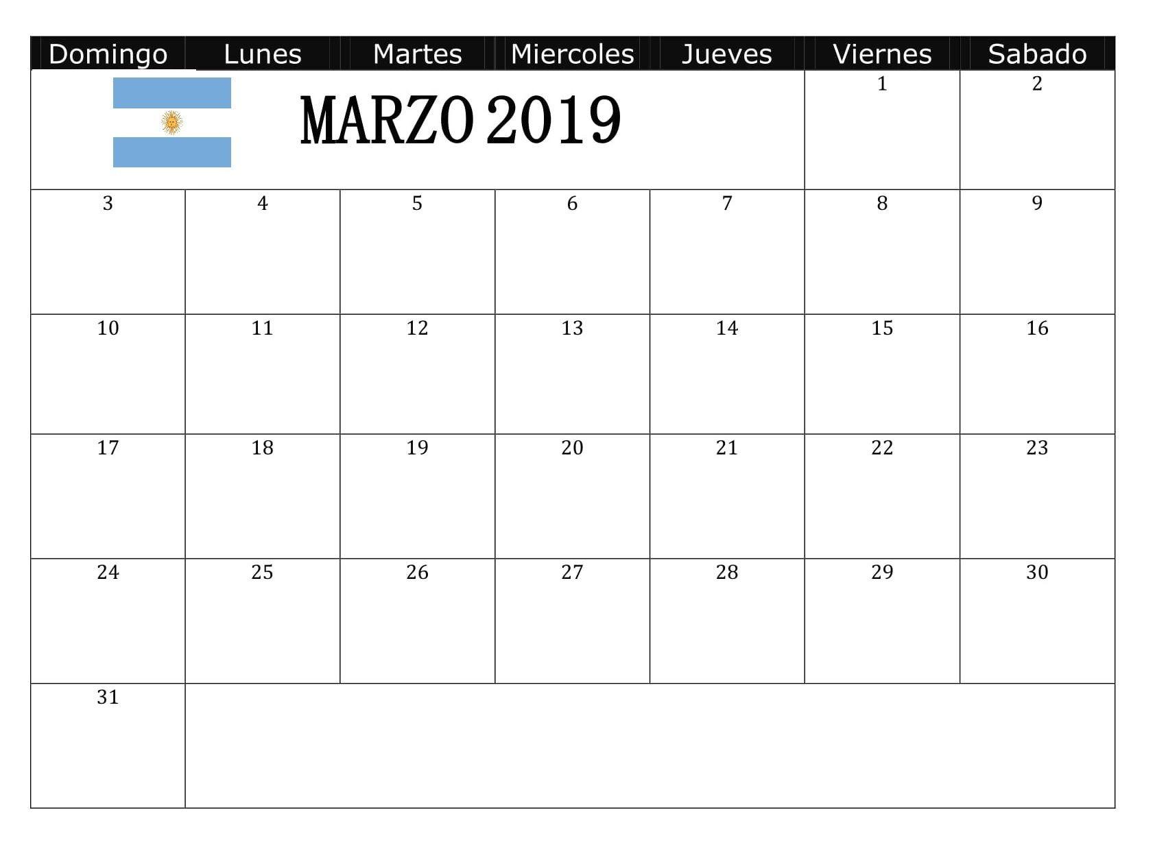 Calendario Marzo 2019 Argentina