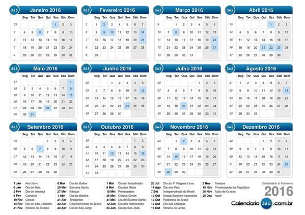 Calendário de Feriados de 2016 Programe se para viajar