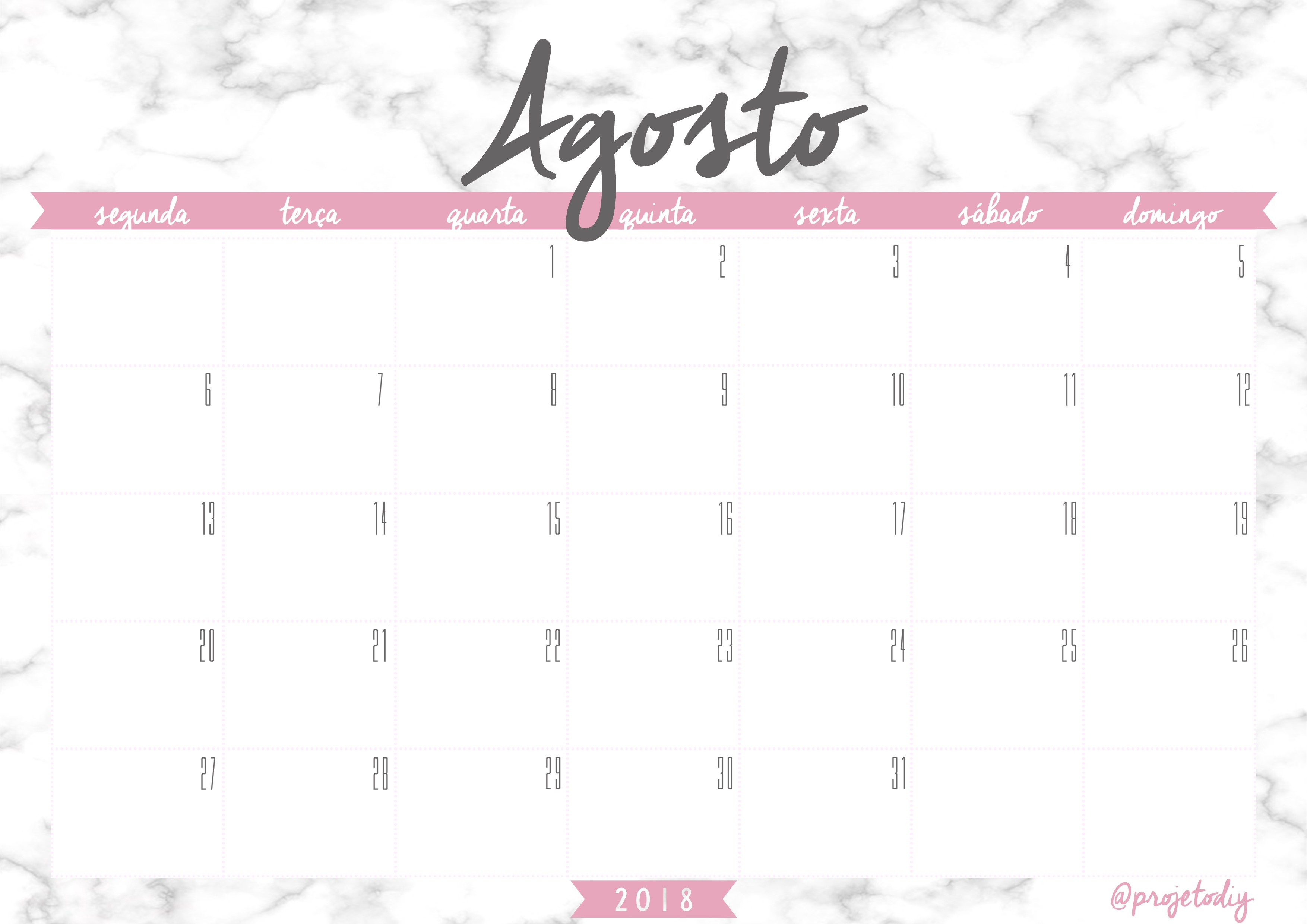calendario 2018 agosto