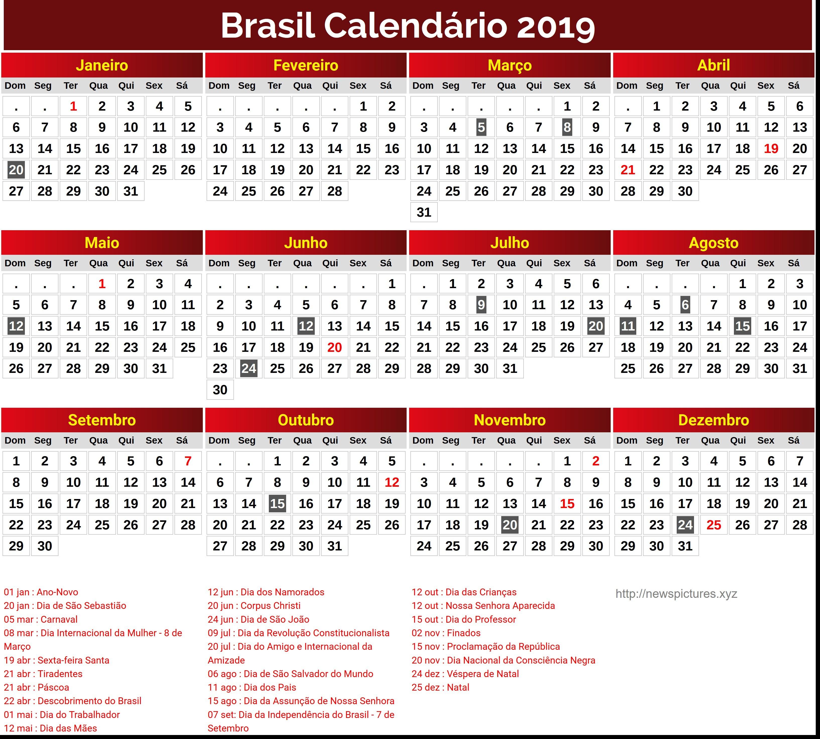 Evaluar Calendario 2019 Con Sus Feriados