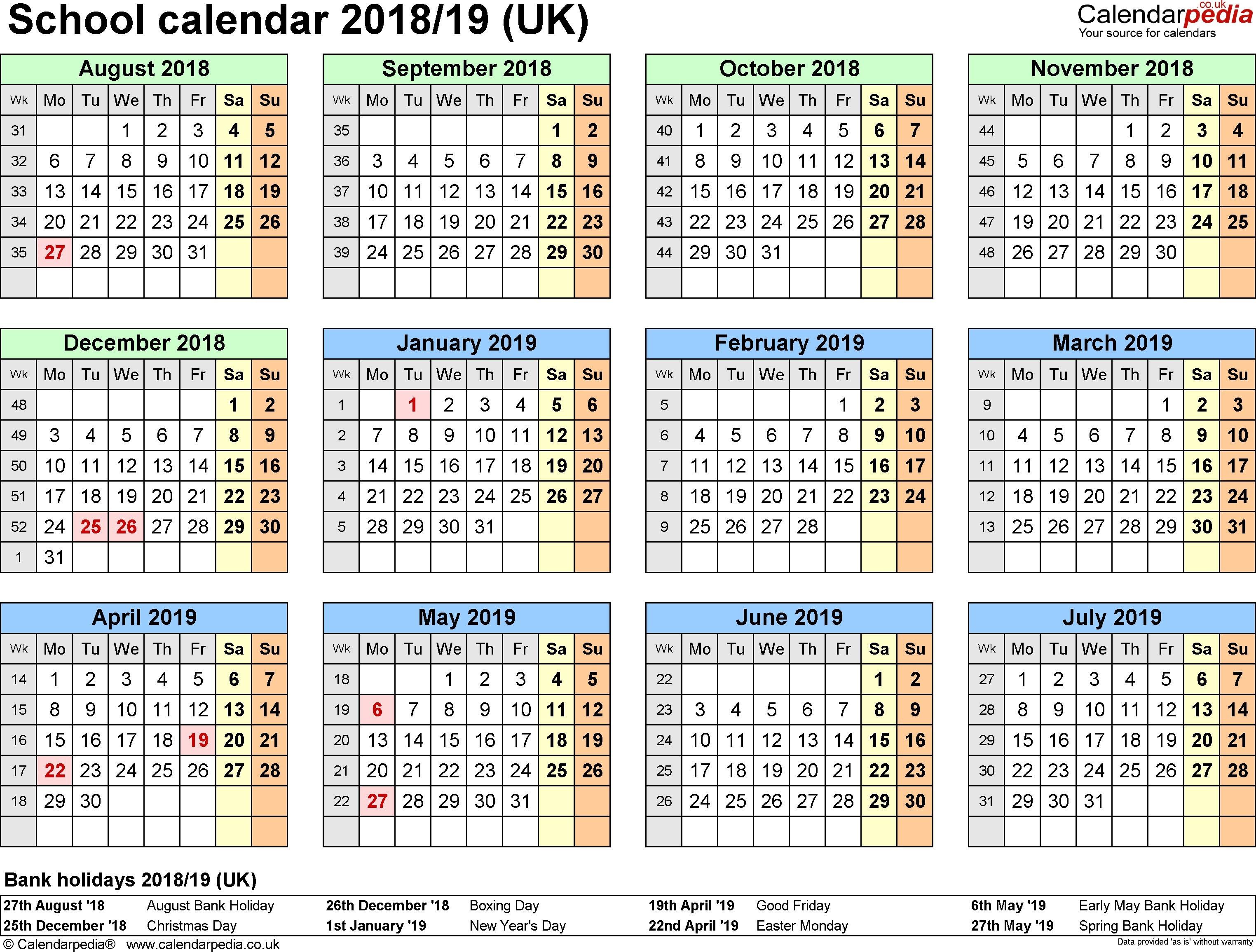 At A Glance 2018 Calendar School Calendars 2018 2019 as Free Printable Word Templates