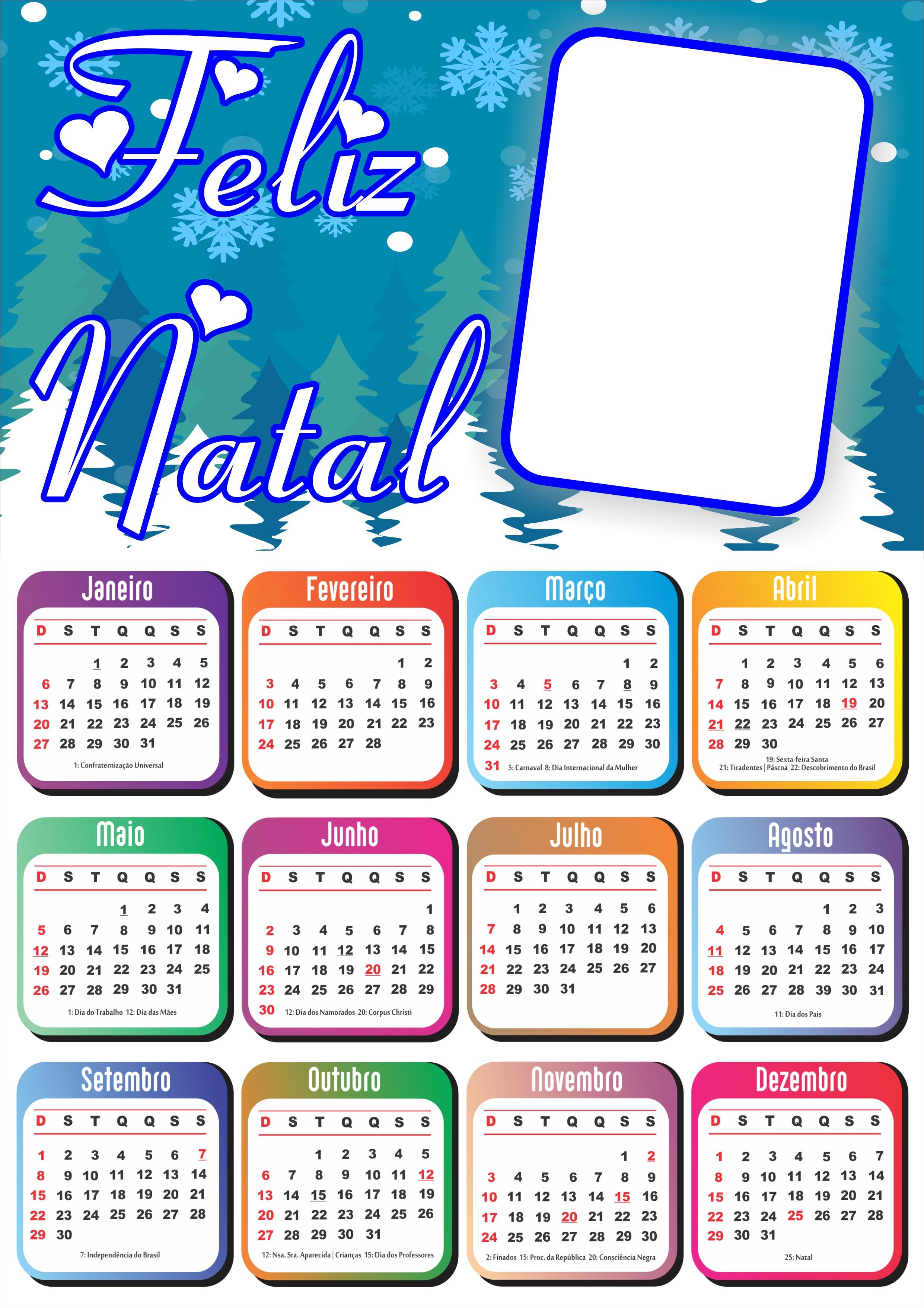 Lindo calendário personalizável 2019