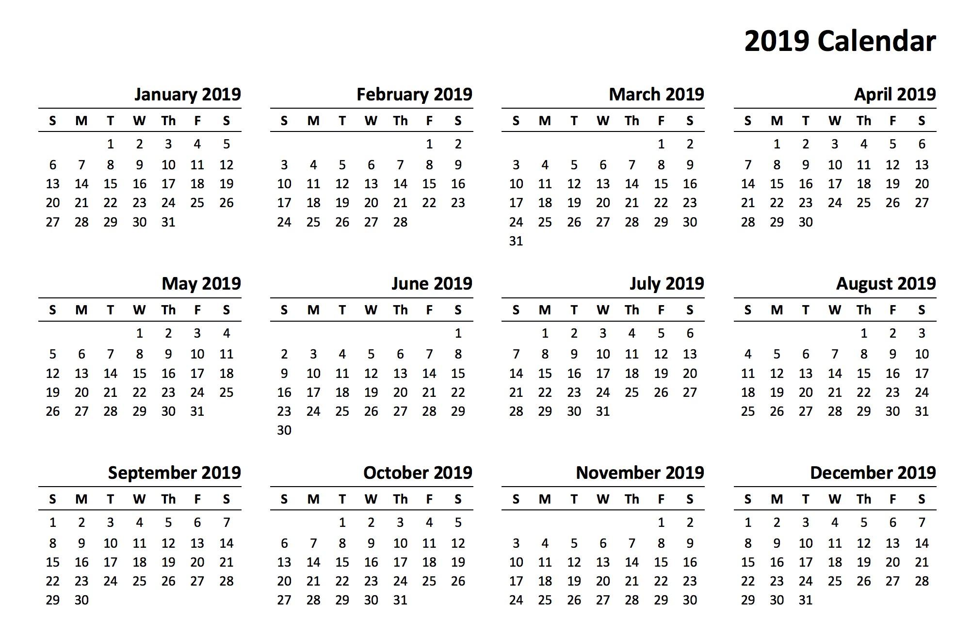 12 Month Calendar 2019 Printable