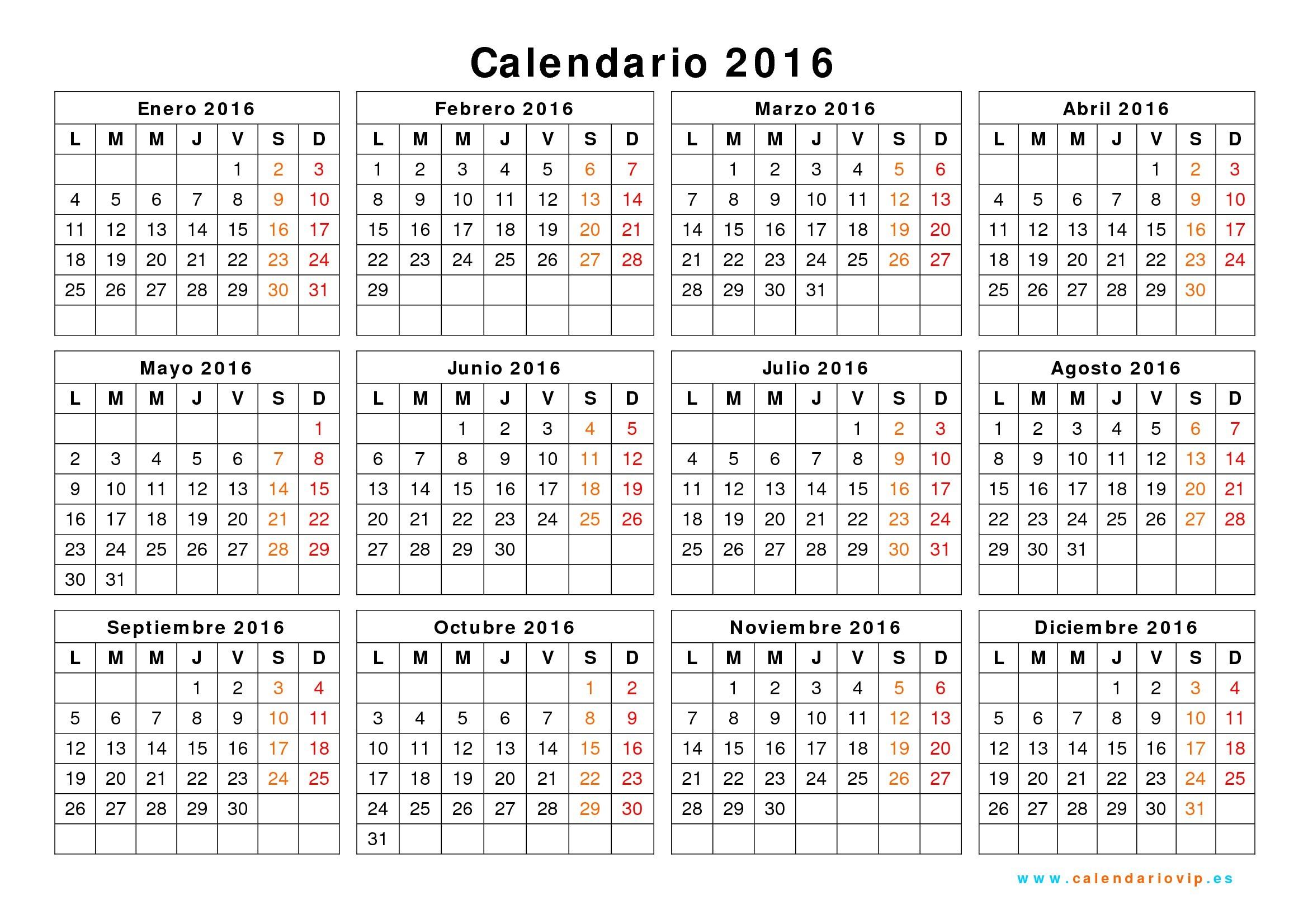 calendario 2016 para imprimir gratis