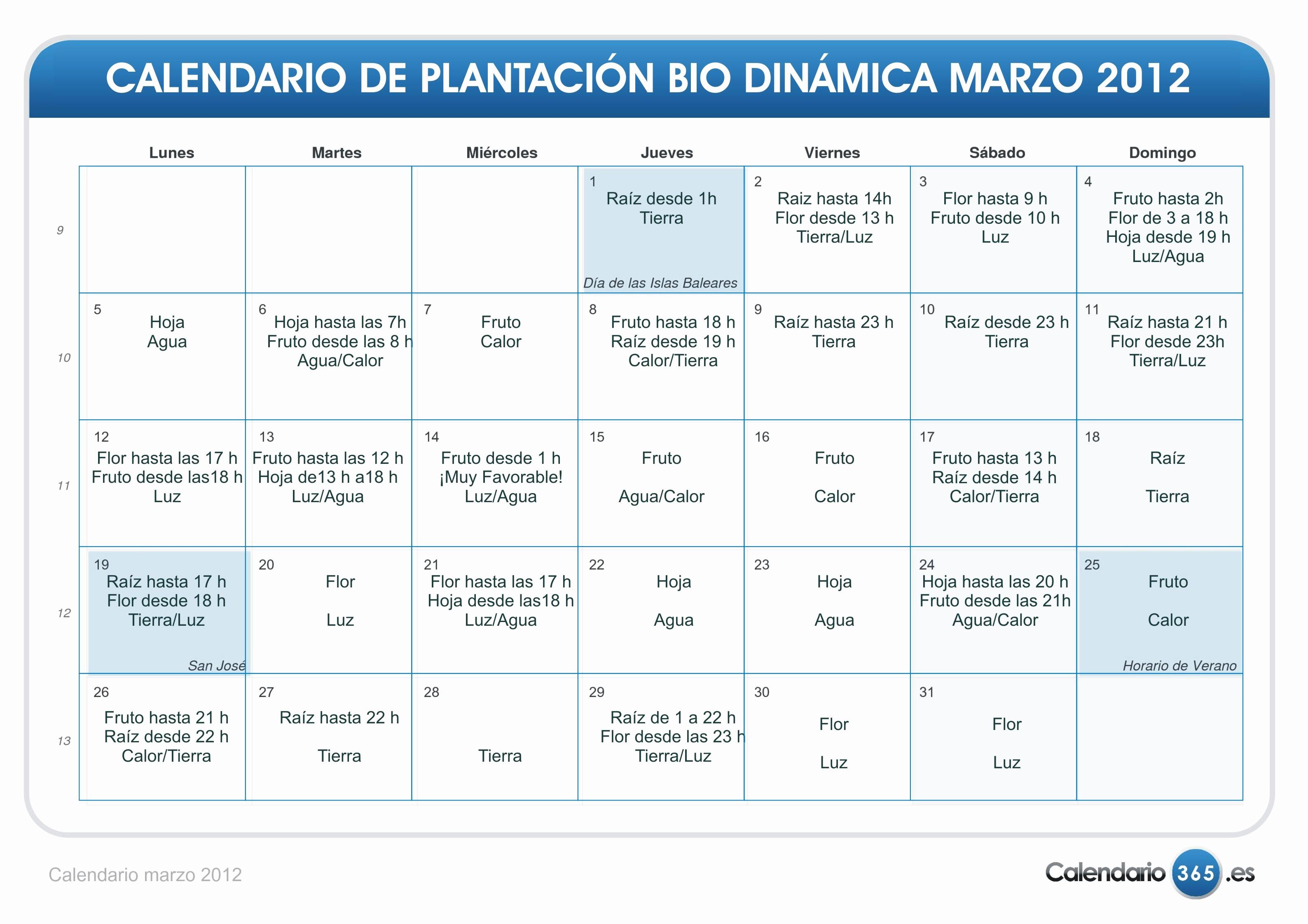 Calendario Dinamico 2019 Calendario Bio Dinamico Para El Mes De Marzo 2012 Eco Oasis