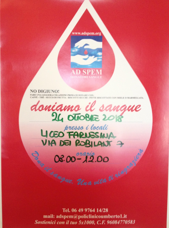 "Donazione sangue mercoled¬ 24 ottobre 2018 """