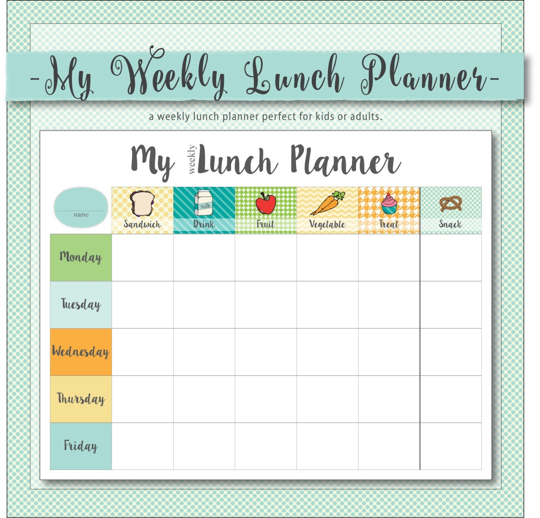 My Weekly Lunch Planner a weekly menu planner for kids or