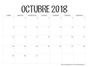 Calendario 2019 Con Festivos Mexico Actual Calendario Octubre 2018 Calendario 2018 Pinterest