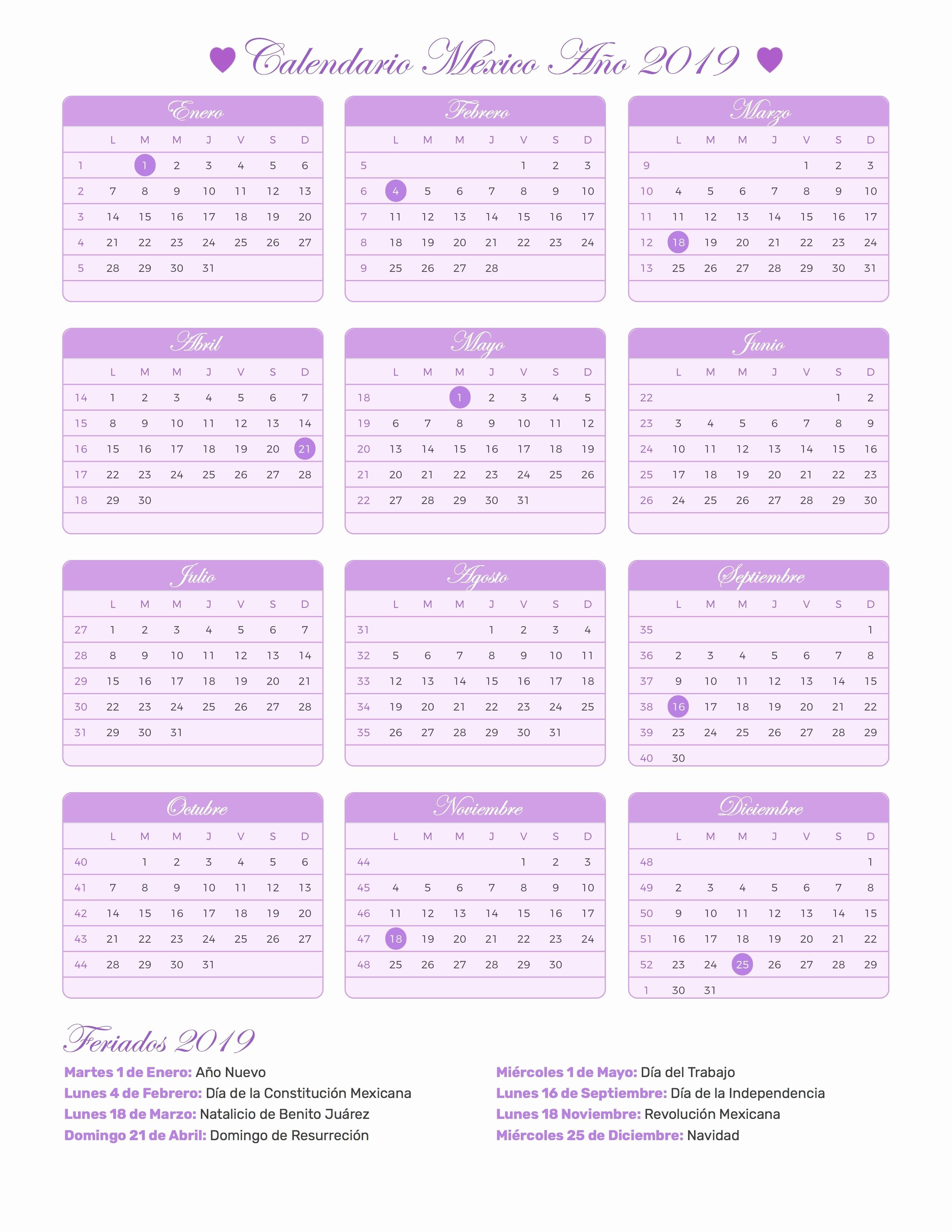 Calendario Dr 2019 Calendario Mexico Ano 2019 Feriados