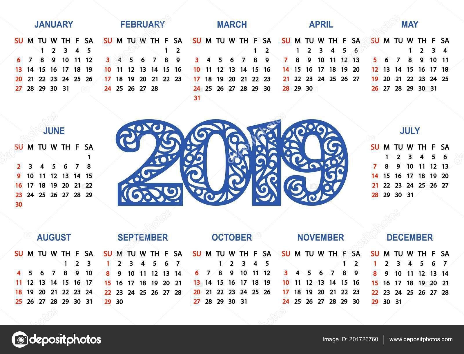 Calendario 2019 Con Festivos Usa Más Recientes Kalendář 2019 Blém Pozad T½den Začná Neděli Základn MřÅ¾ka