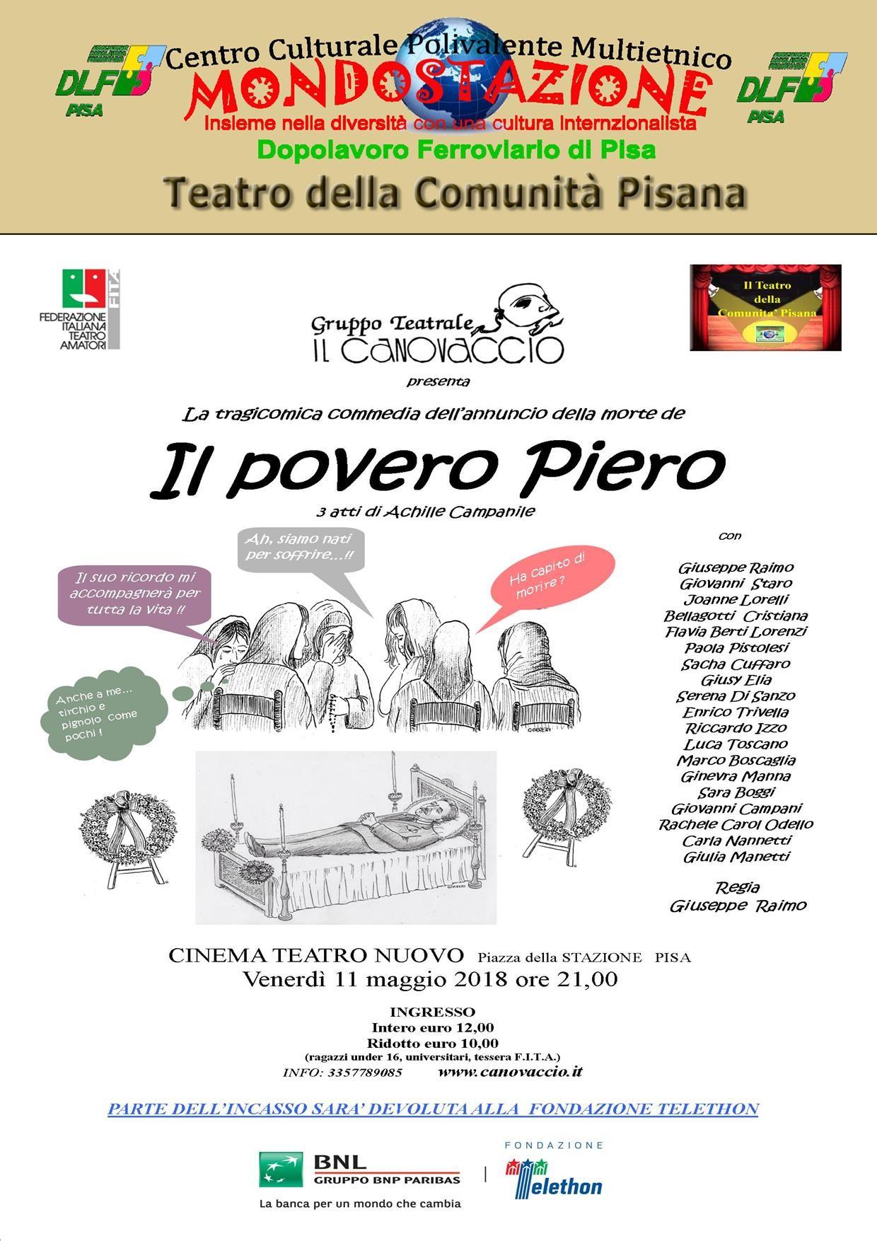"""La ricerca va a teatro con """"Il Povero Piero"""" della pagnia """"Il Canovaccio"""" per BNL Telethon"""