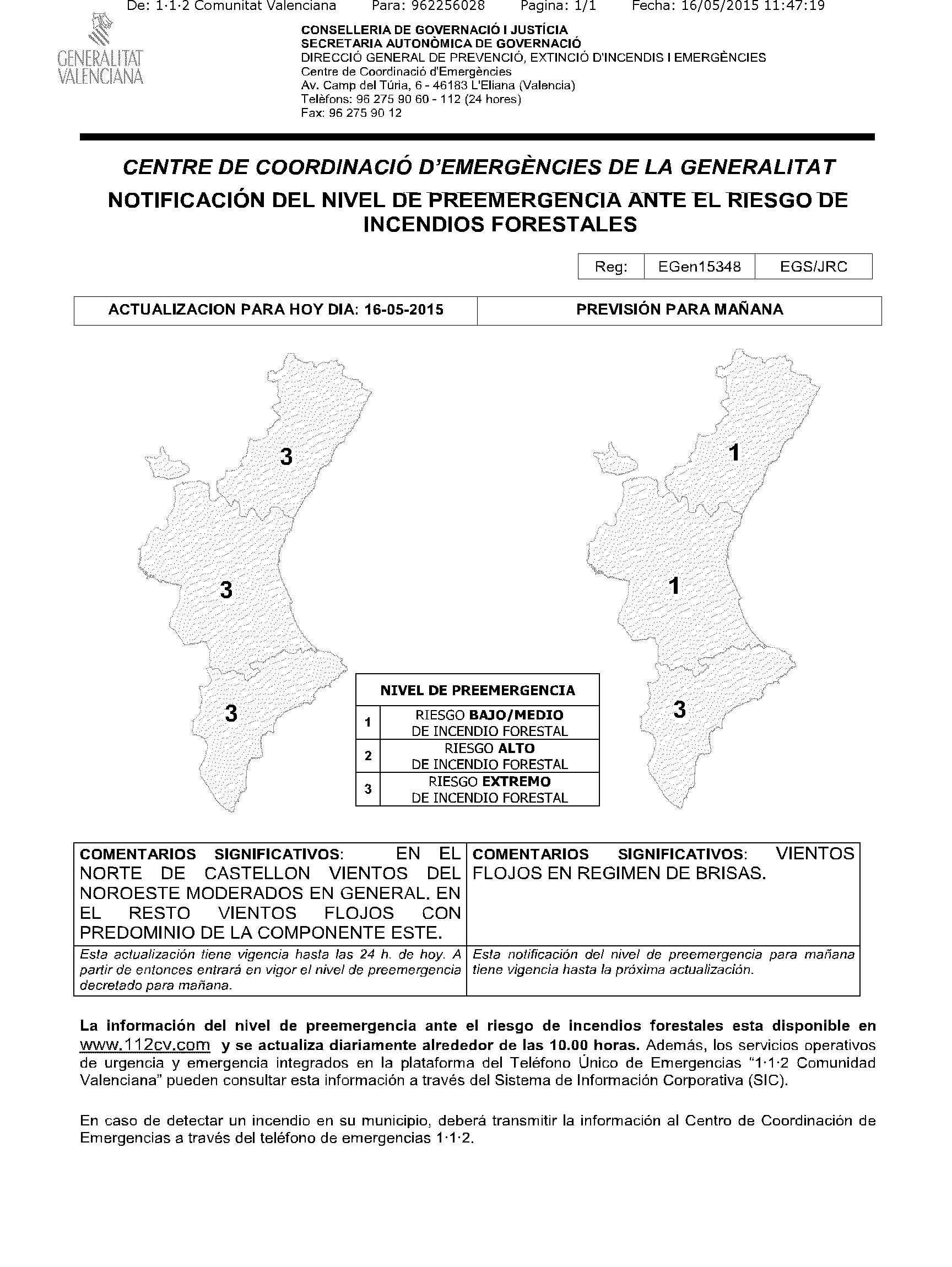 Notificaci³n Nivel Preemergencia Riesgo Incendios Forestales