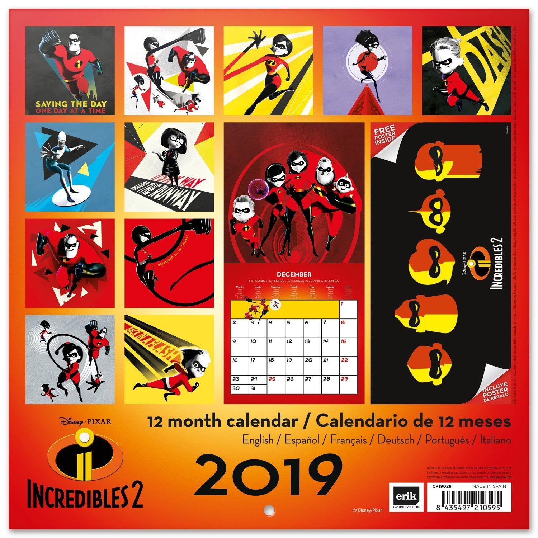 Grupo Erik Calendario Da Muro 2019 The Incredibles 2 30 X 30 Cm Calendario
