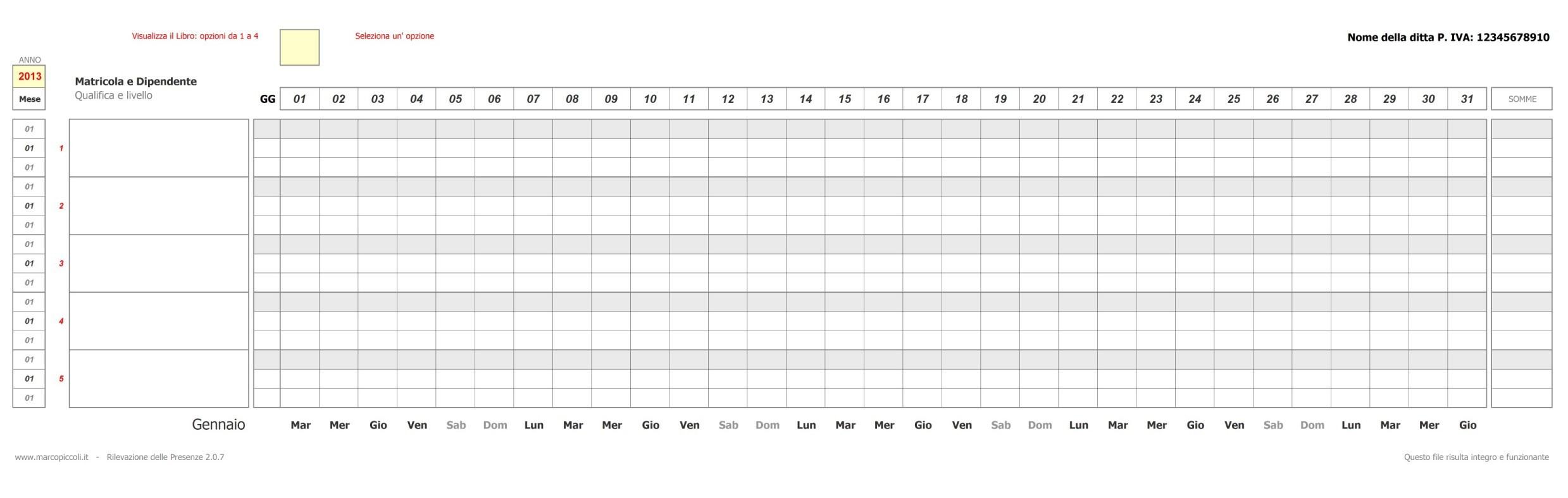 Excel Calendario Mensile Calendar Template