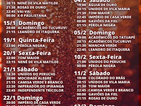 Calendario 2019 Data Do Carnaval Más Reciente Confira A Programa§£o Dos Ensaios Das Escolas De Samba De Sp Para O