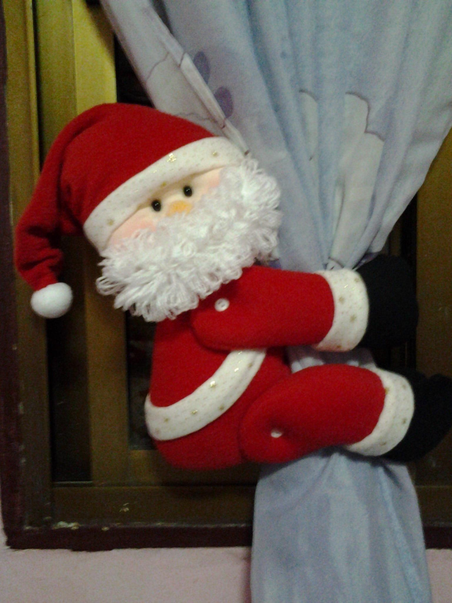 Resultado de imagen para imagenes cortineros navide±os Adornos De Papá Noel Diy Adornos Cortinas
