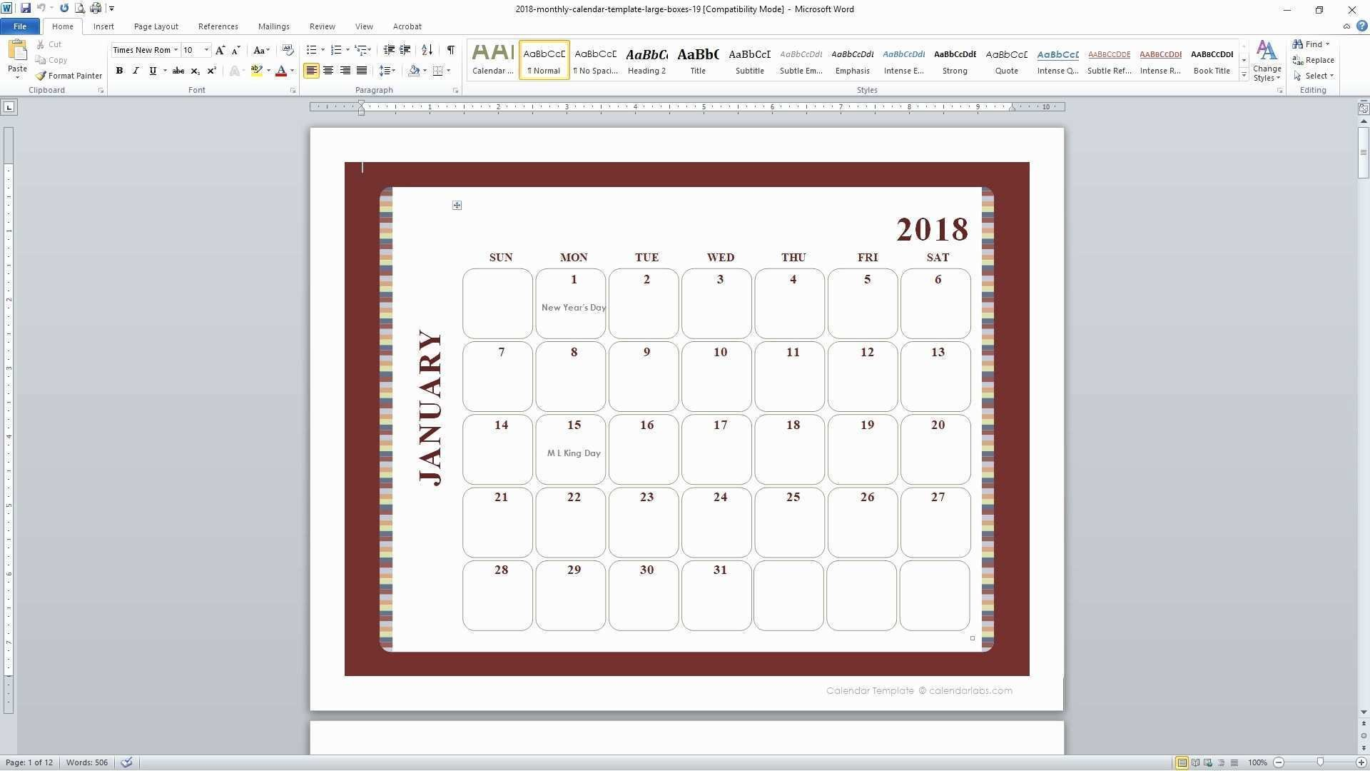 Calendar Template In Word 2010 s Personalize A For Microsoft Mo