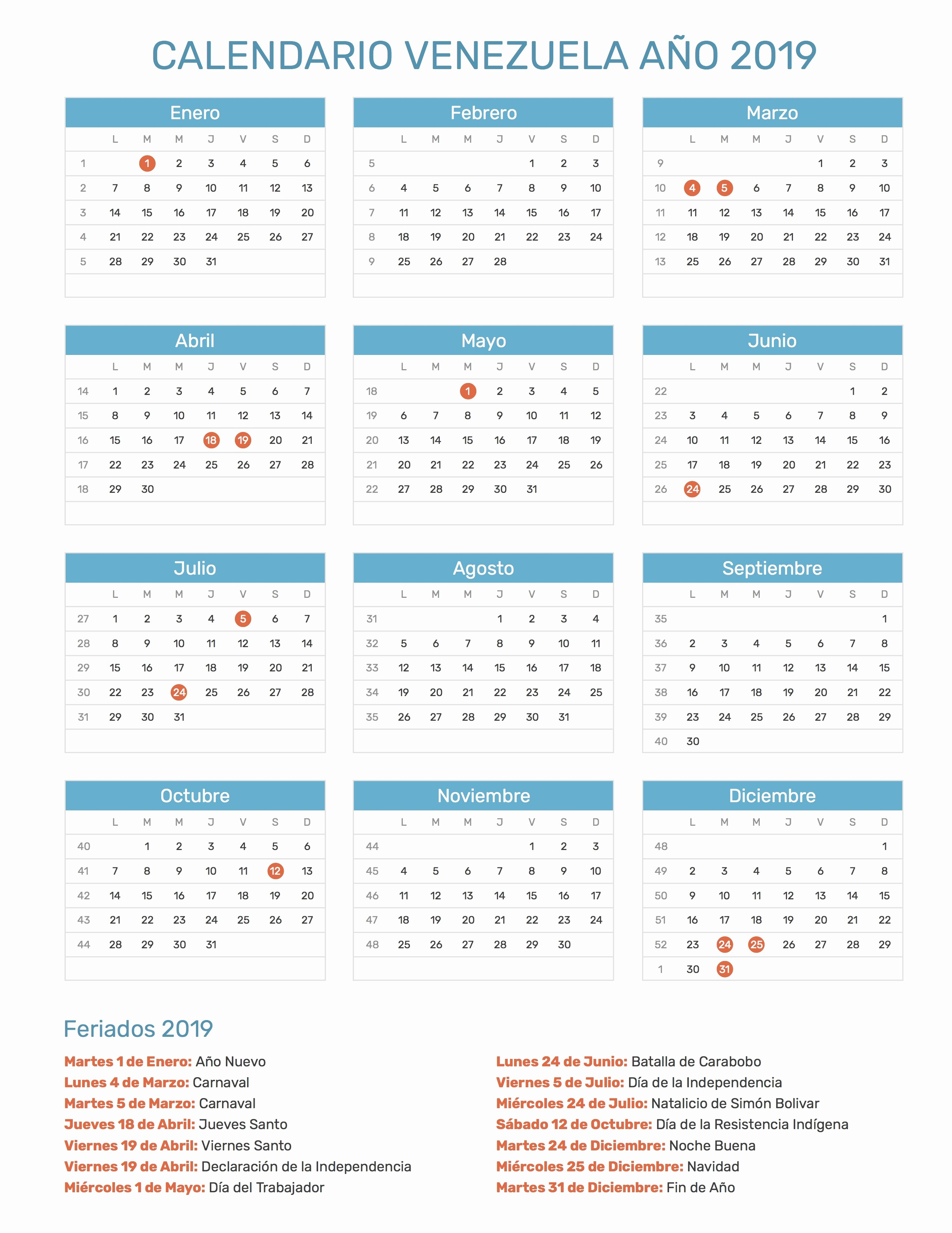 Cada Cuanto Se Repiten Los Calendarios 2019 Calendario Venezuela Ano 2019 Feriados