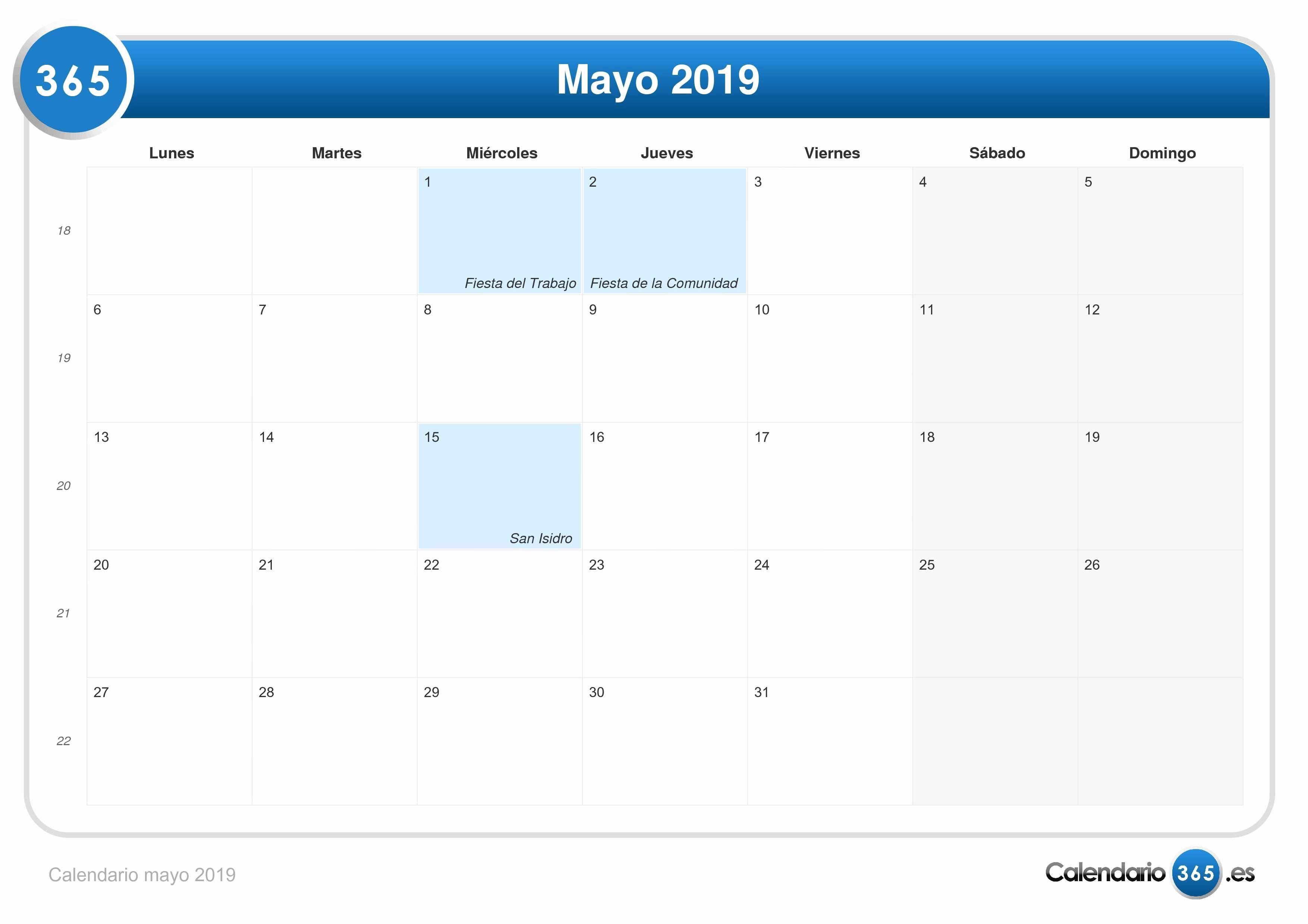 Festivos 2019 Calendario Mayo 2019
