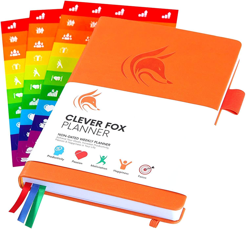 Planificador Clever Fox Agenda Semanal Mensual Diario Para Disparar la Productividad Motivaci³n Felicidad éxito y Lograr tus Metas en 2019 Calendario