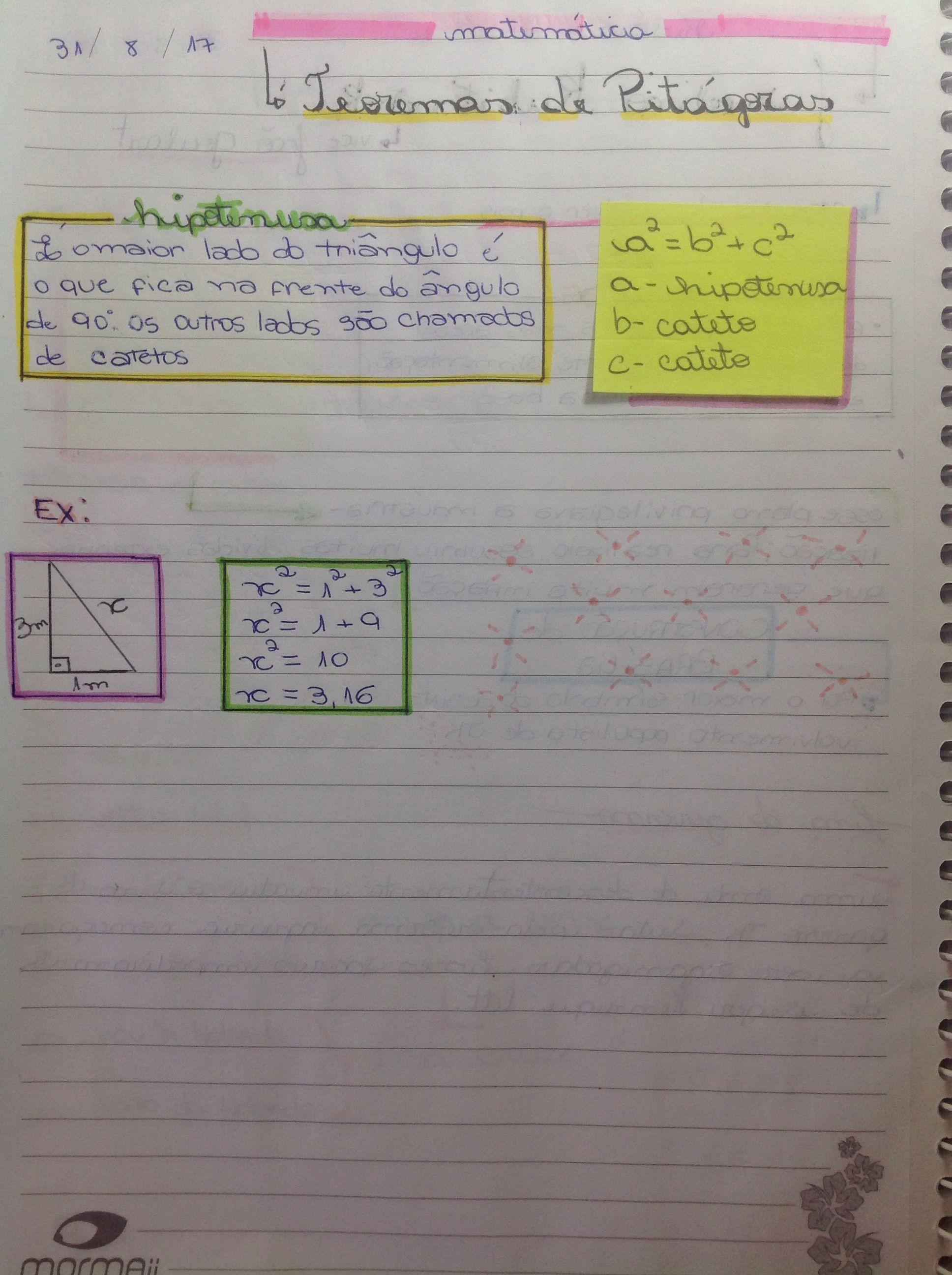 Resumo de matemática sobre o Teorema de Pitagoras