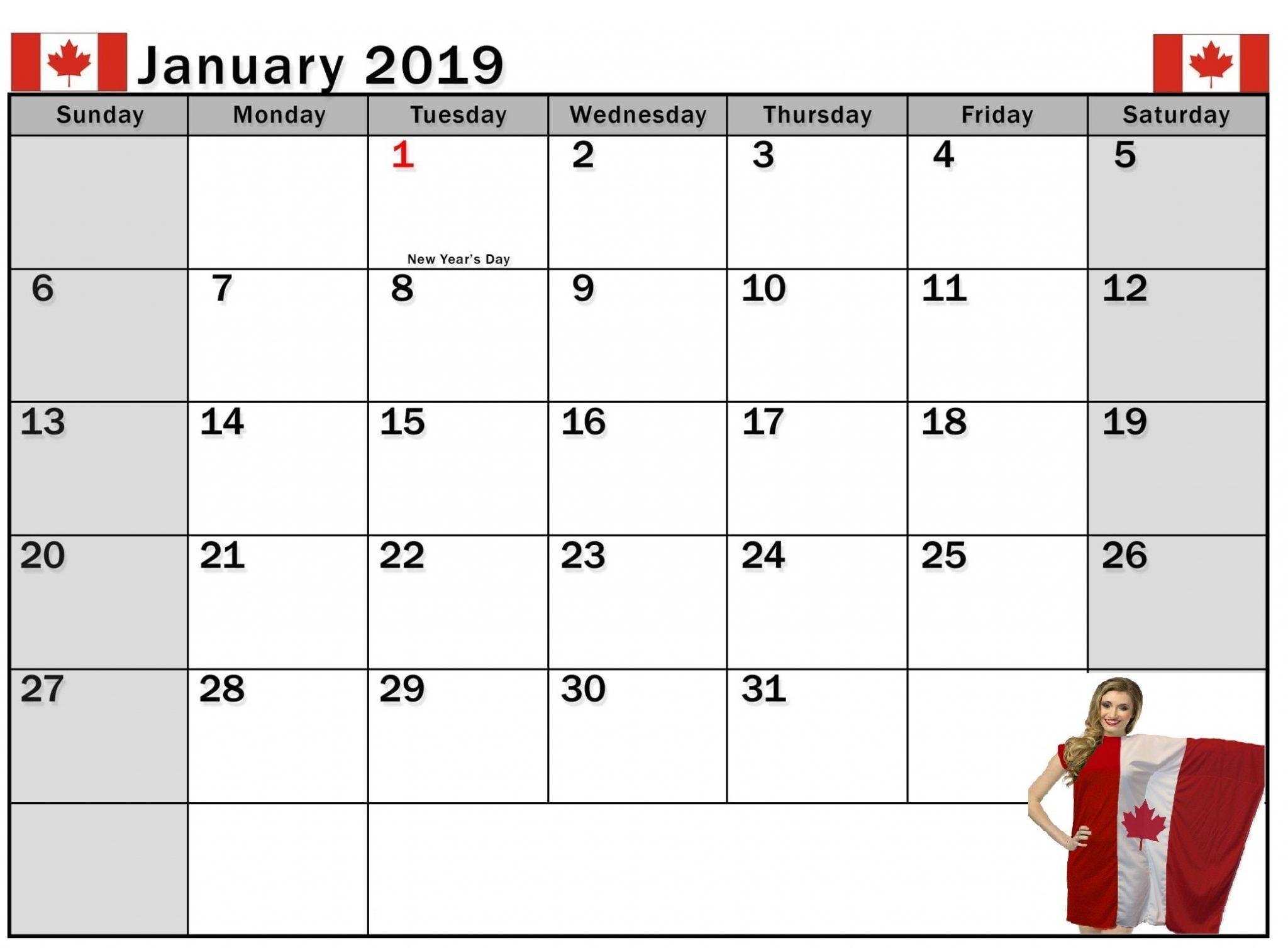 Holidays Calendar January 2019